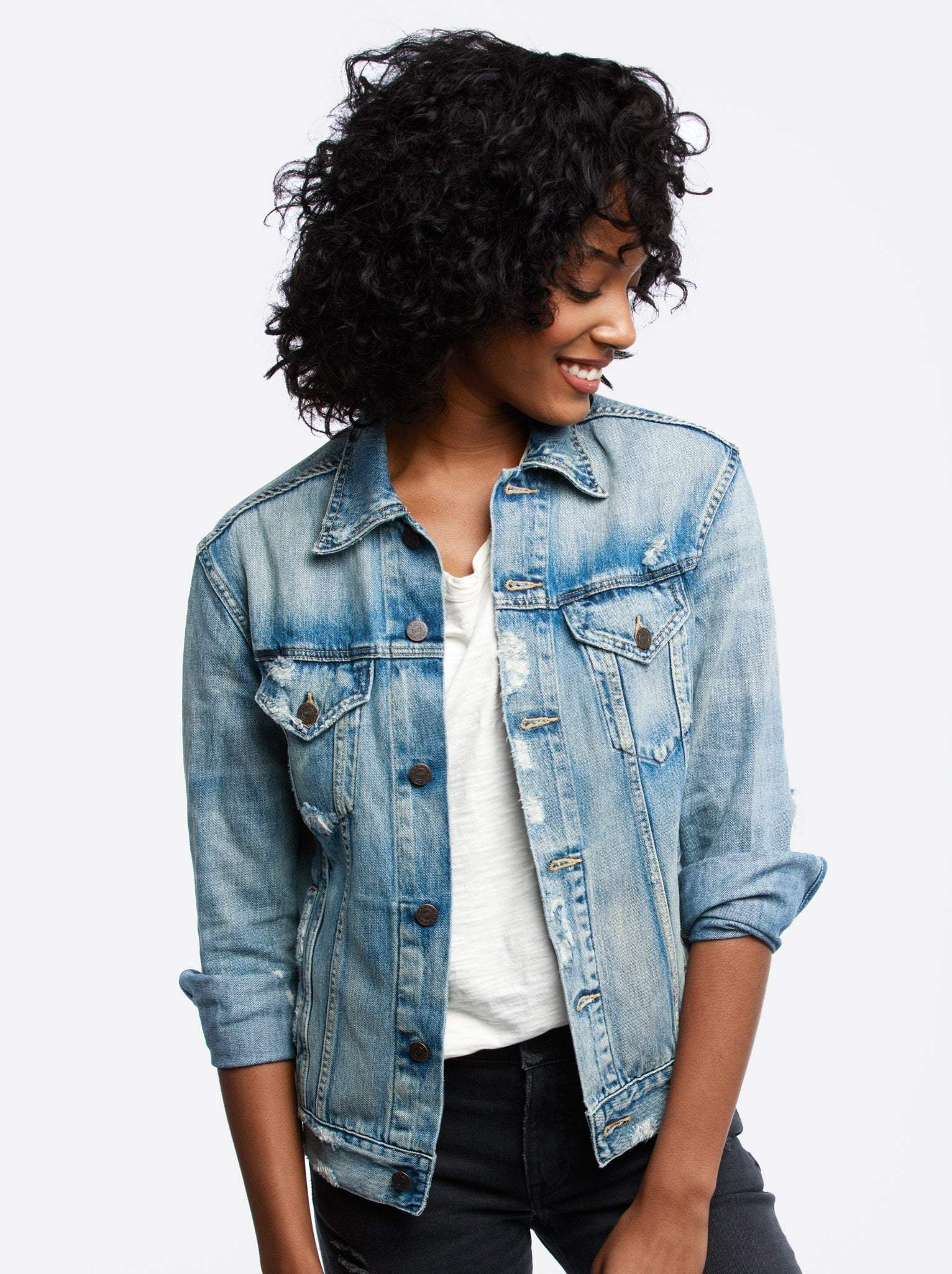 "Distressed Denim Jacket - ABLE | Ethically made by women in Nashville | $125 with code ""KEIRA15"" for 15% offI had to include this jacket because both my Mom and I own it and LOVE it! Anything from ABLE is perfect for Mother's Day. Their clothes, jewelry, shoes… I would include it all if I could!"