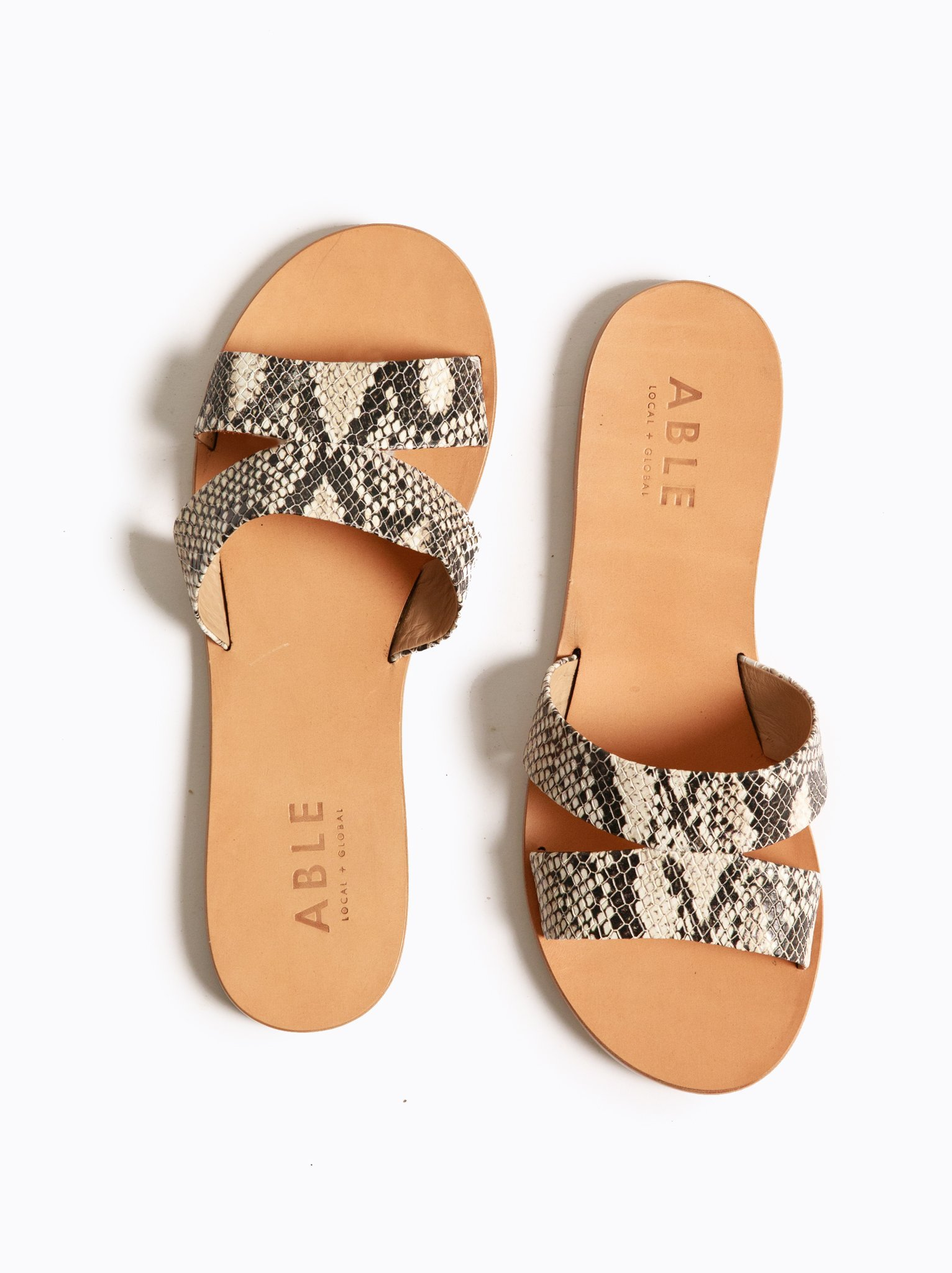 "Snakeprint Slide Sandal - ABLE | Ethically made by women in Nashville | $83 with discount code ""KEIRA15"" at checkout"