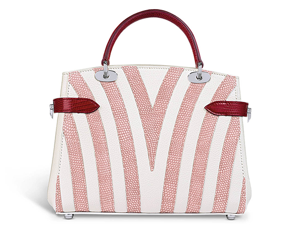Taylor Mini in white bullskin with rose petal and chilli lizard cabana stripe  £5,900,   www.asprey.com