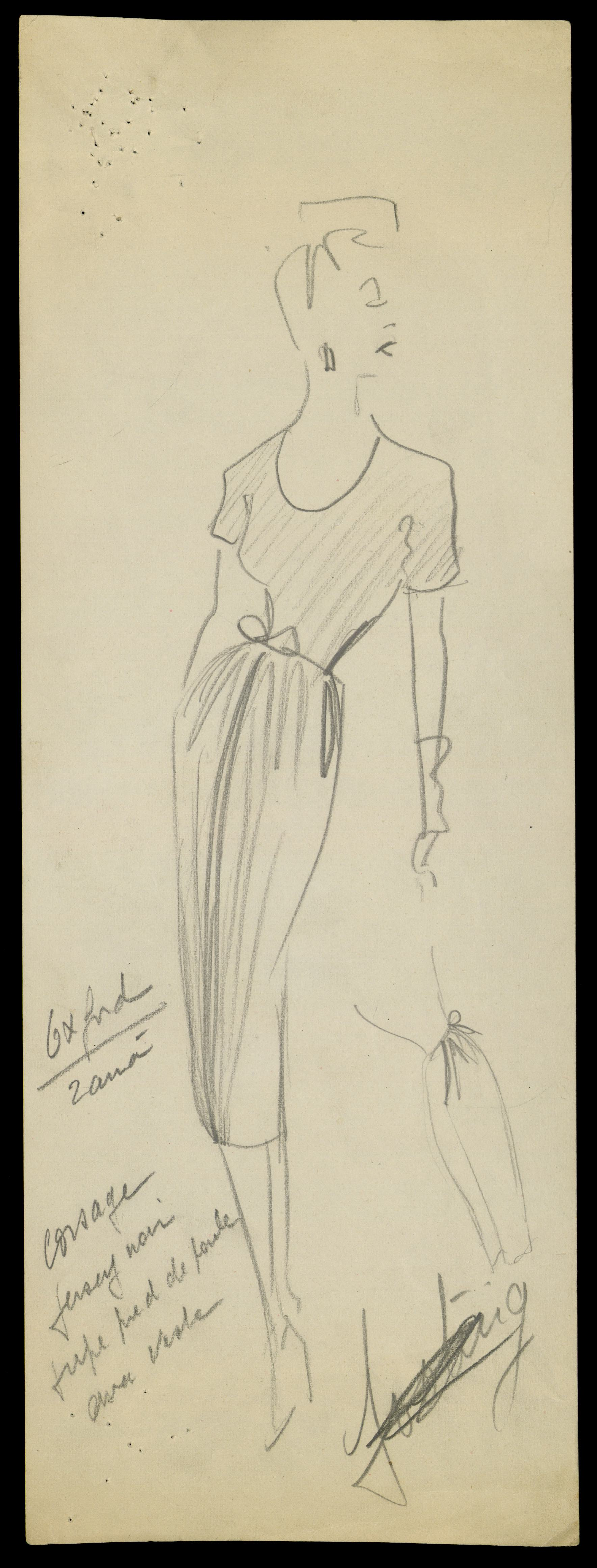 Sketch by Christian Dior for model Oxford, Spring-Summer 1947 Haute Couture collection © Christian Dior.jpg