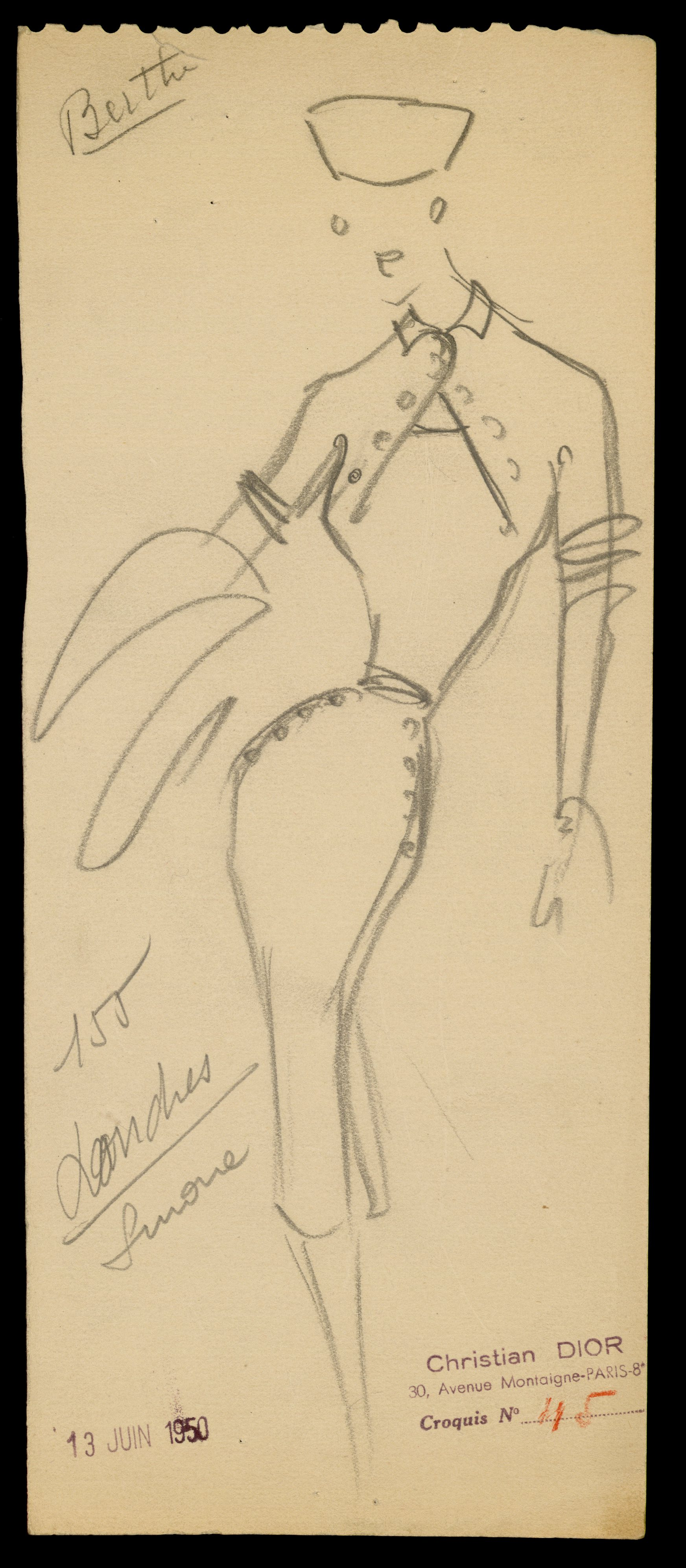 Sketch by Christian Dior for model Londres, Autumn-Winter 1950 Haute Couture collection © Christian Dior.jpg
