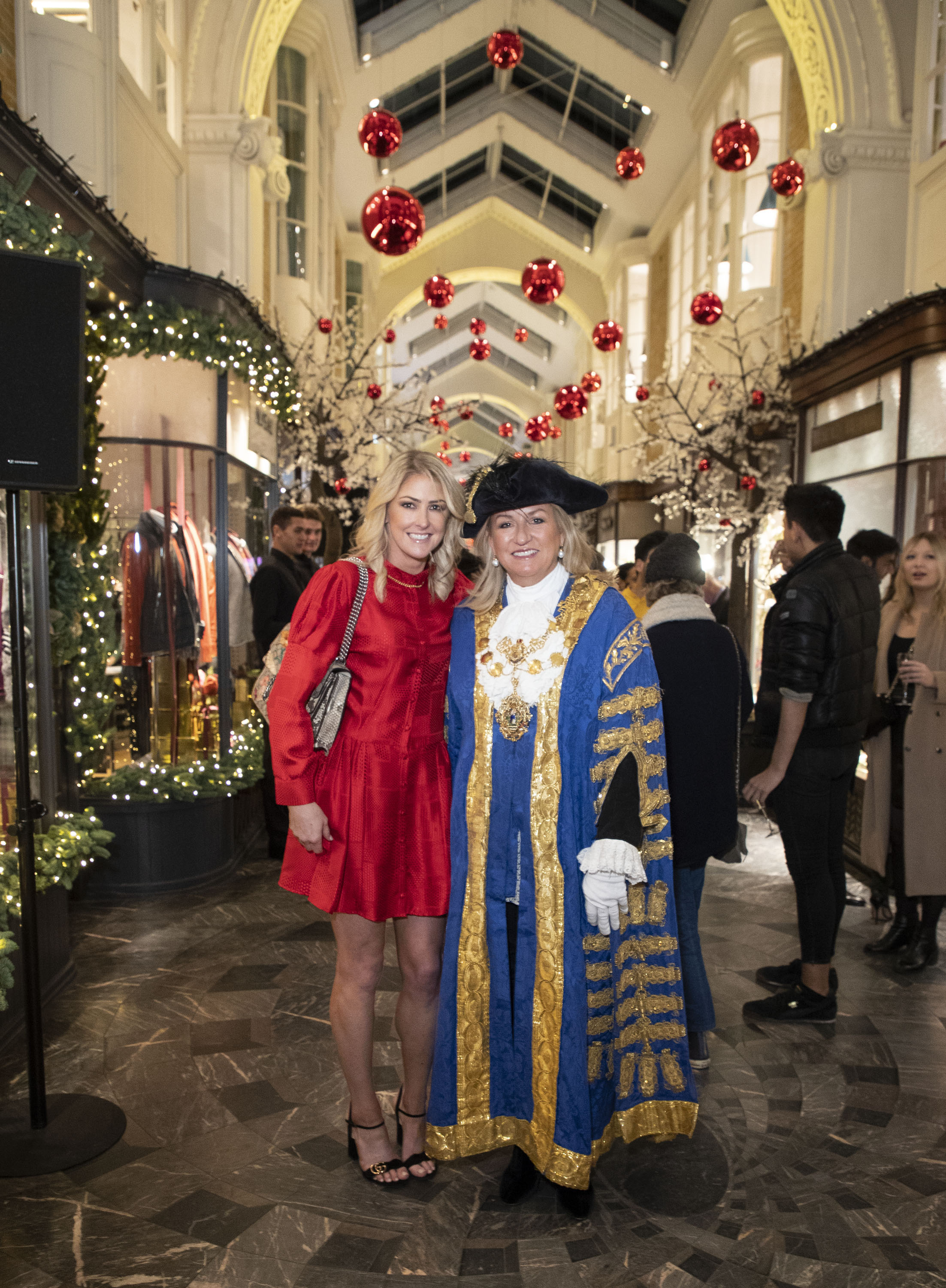 Caroline Lyons, General Manager of Burlington Arcade, and The Right Worshipful Lord Mayor of Westminster Councillor Lindsey Hall at Burlington Arcade, Chritsmas Lights.JPG
