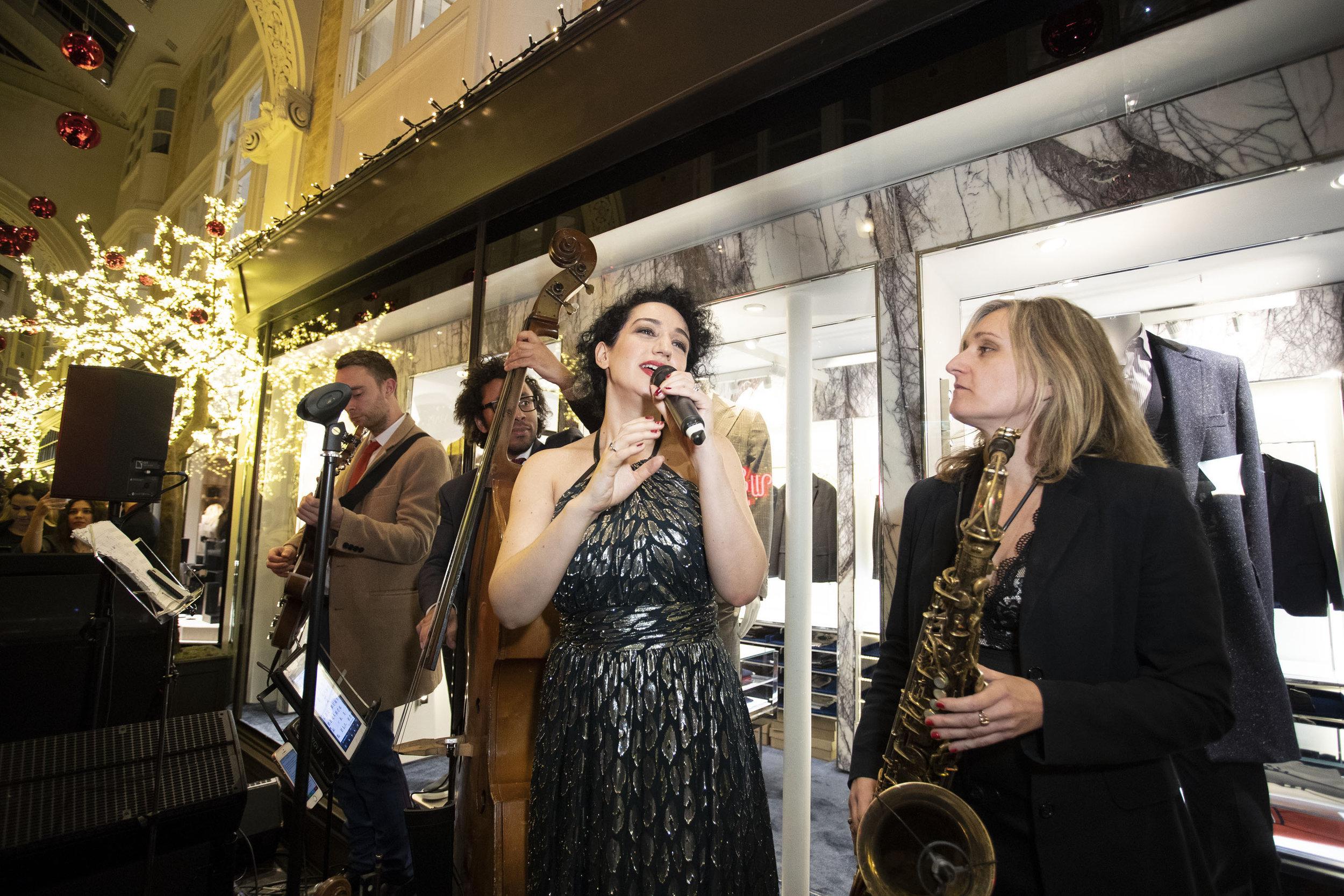 Oriana Curls signing at Burlington Arcade, Christmas Lights.JPG