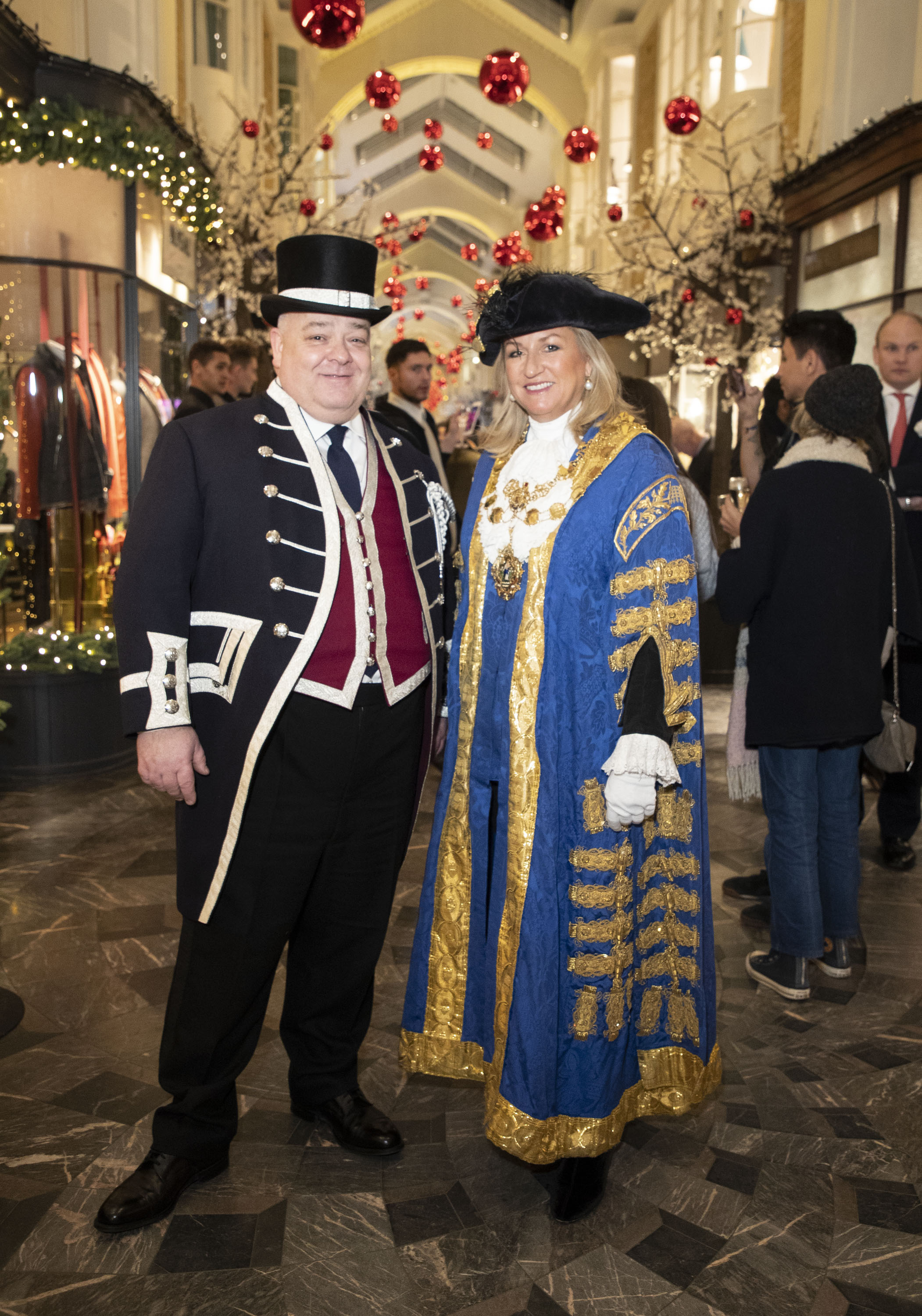 Mark Lord, Head Beadle at Burlington Arcade, and The Right Worshipful Lord Mayor of Westminster Councillor Lindsey Hall at Burlington Arcade, Chritsmas Lights.JPG