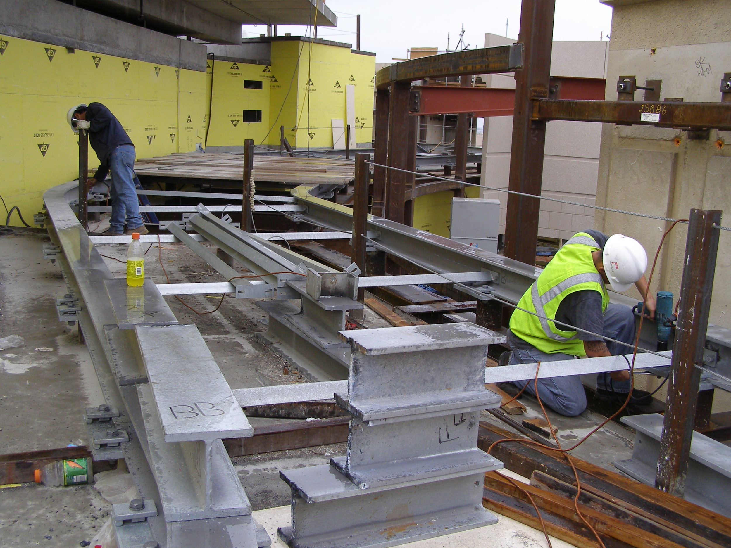 Step 2.  As the BMU was being shipped, the track support pedestals and track was installed by Sky Rider's Crew.