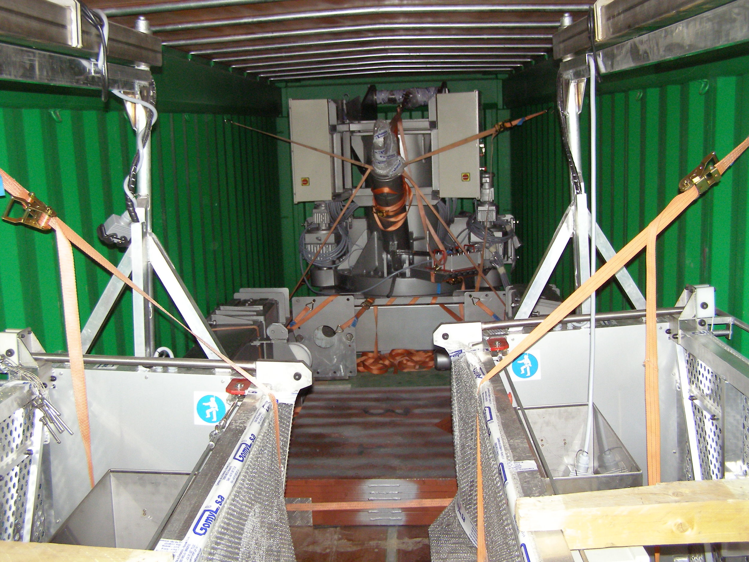 Step 4.  The BMU was disassembled at the factory and shipped to the site in two containers.