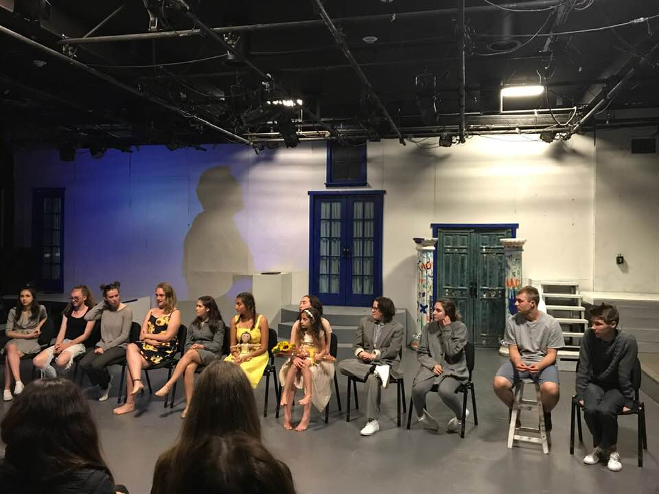 Left: 2 of the student- playwrights from El Dorado High School Studio 81. Right: the cast of Cloront in a Q & A session with the audience after a show.