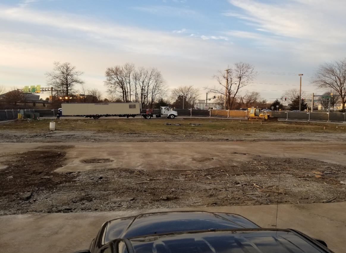The before shot: Along with the concrete and brick work, we provided the certified pad and did all the site work.
