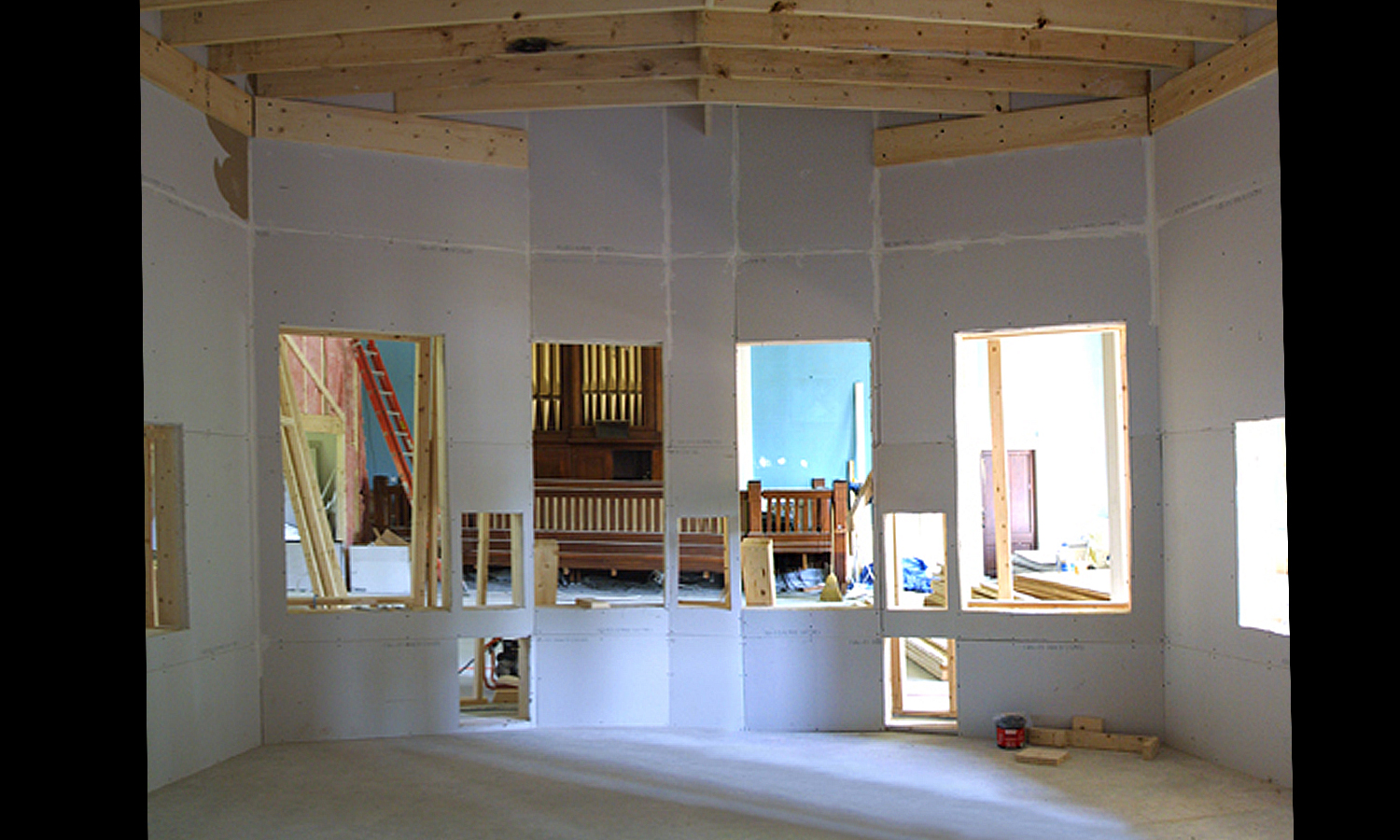 Control room with three layers of 5/8 sheetrock