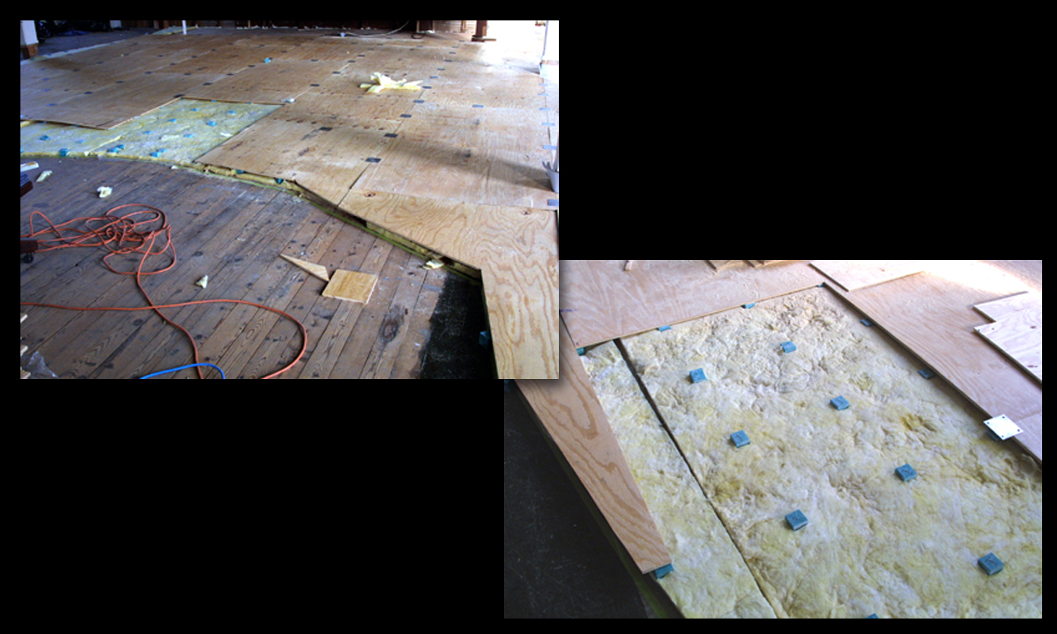A close up of the absorbers and plywood forms for the floated floor