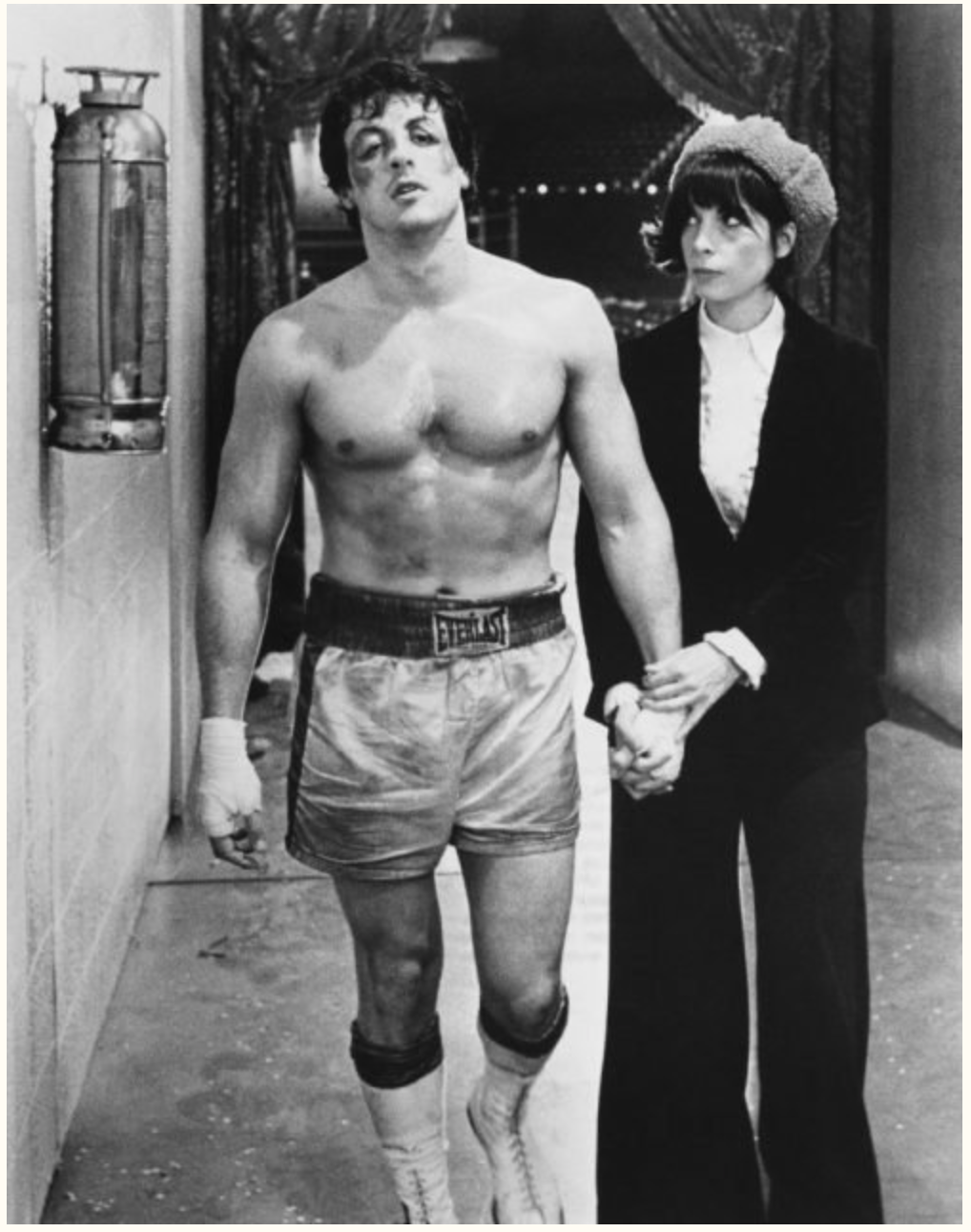Sylvester Stallone as Rocky Balboa and Talia Shire as Adrian in Rocky. (Photo by John Springer Collection/CORBIS/Corbis via Getty Images)