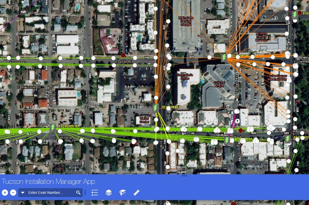 Evari's real-time installation progress webmap complete with a custom solution tracing lighting assets back to their respective meters.