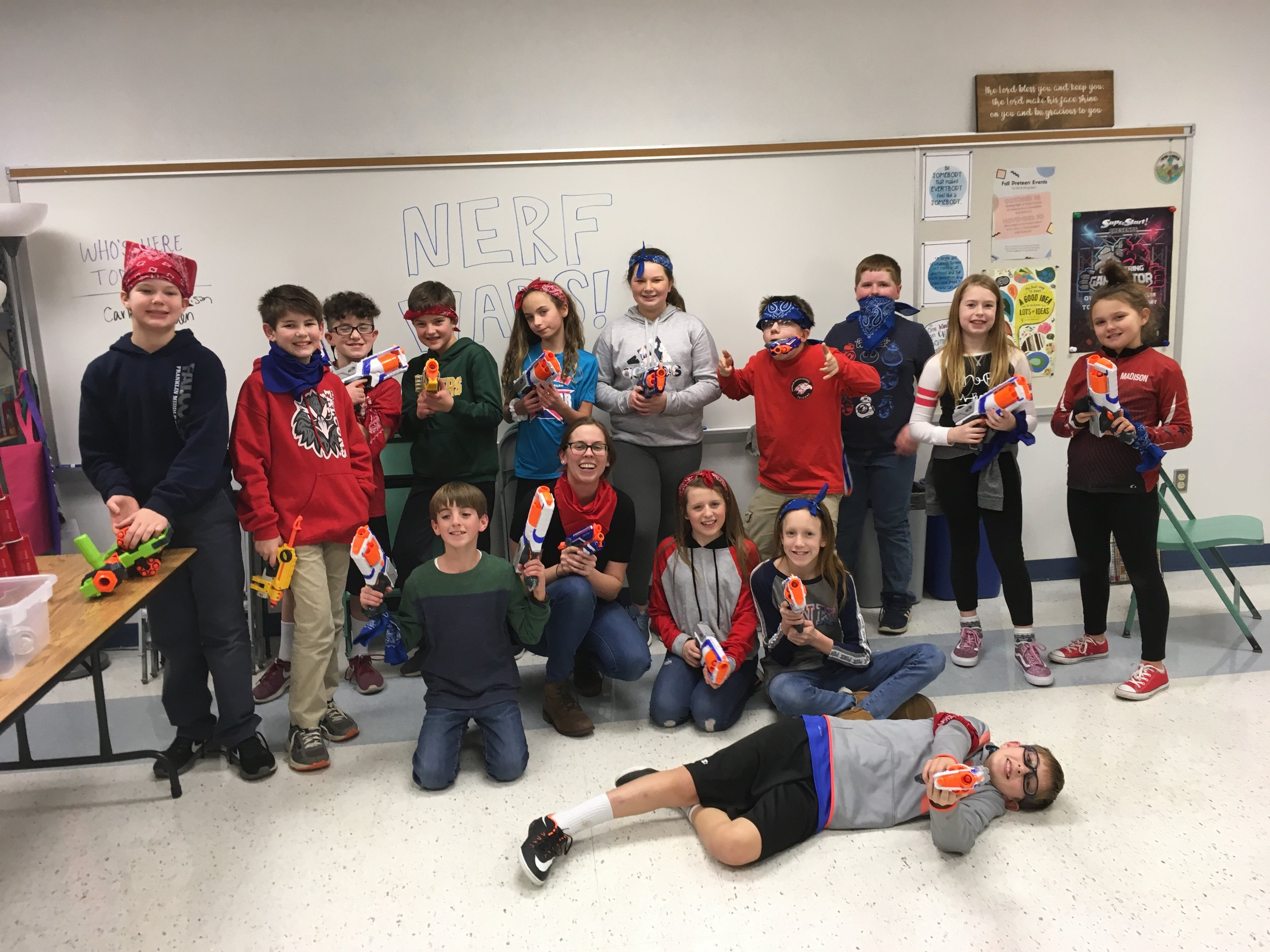 Preteen disciples and their friends spill Nerf bullets all over the lower level in a series of games this January.