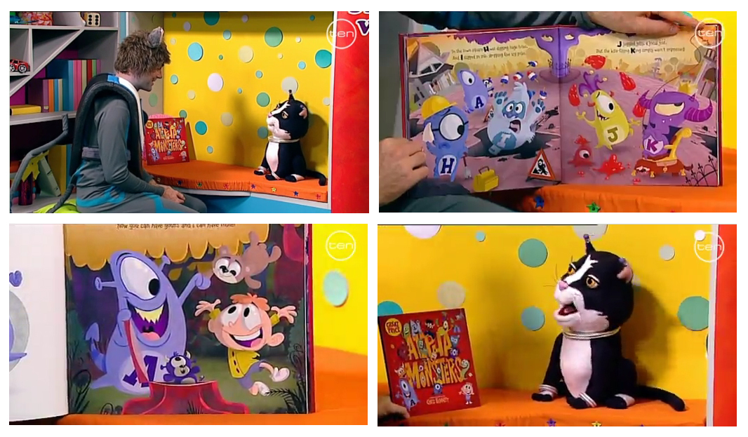 In 2012 the book was featured in the story time segment of Channel 10's Wurrawhy. Where is was read by a puppet cat and a man dressed as a personified computer mouse. -