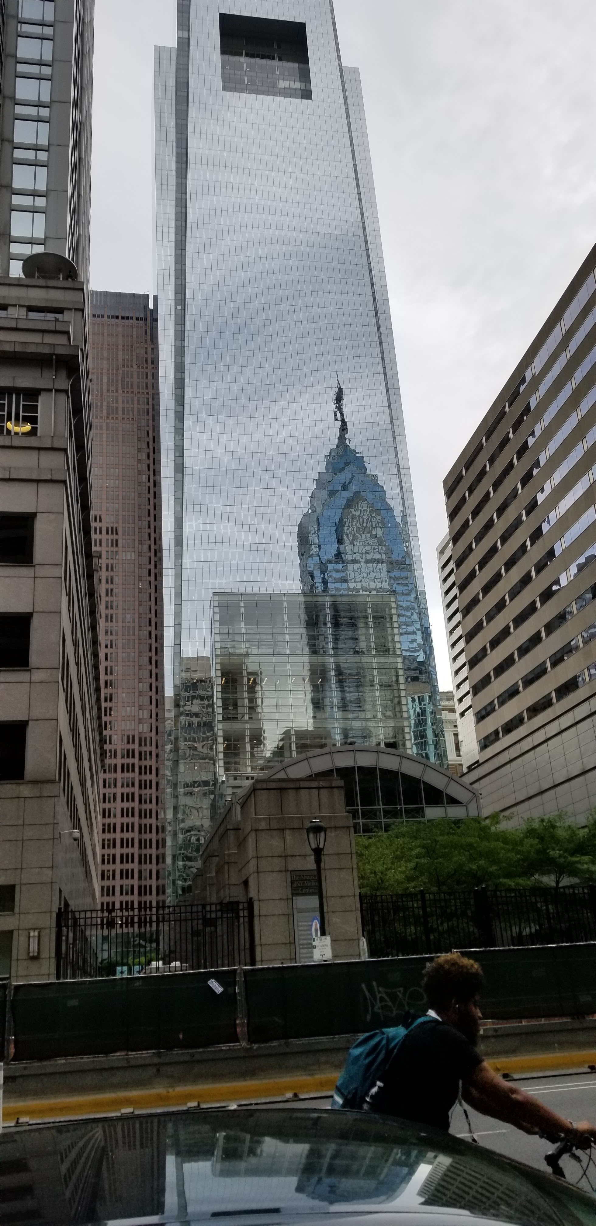 City Hall with Billy Penn reflected in downtown Philadelphia