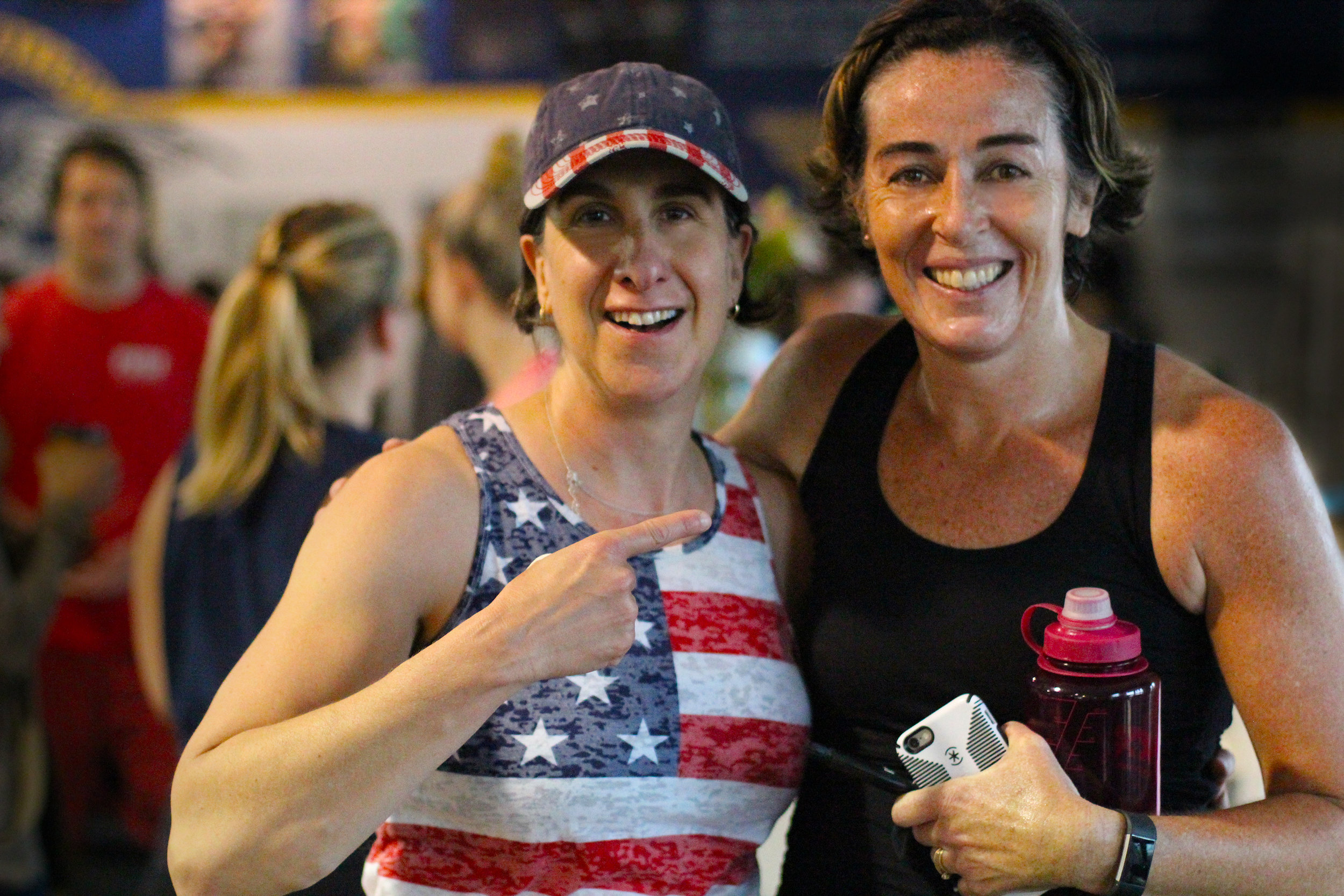 """What it's all about right here! Supporting each other to our personal and collective best.    Here's PVCF athletes, Sandy Diamond and  Megan Finn Grygorcewicz all smiles after finishing """"Murph""""! And it was Megan's first time through it! Great job, team!"""