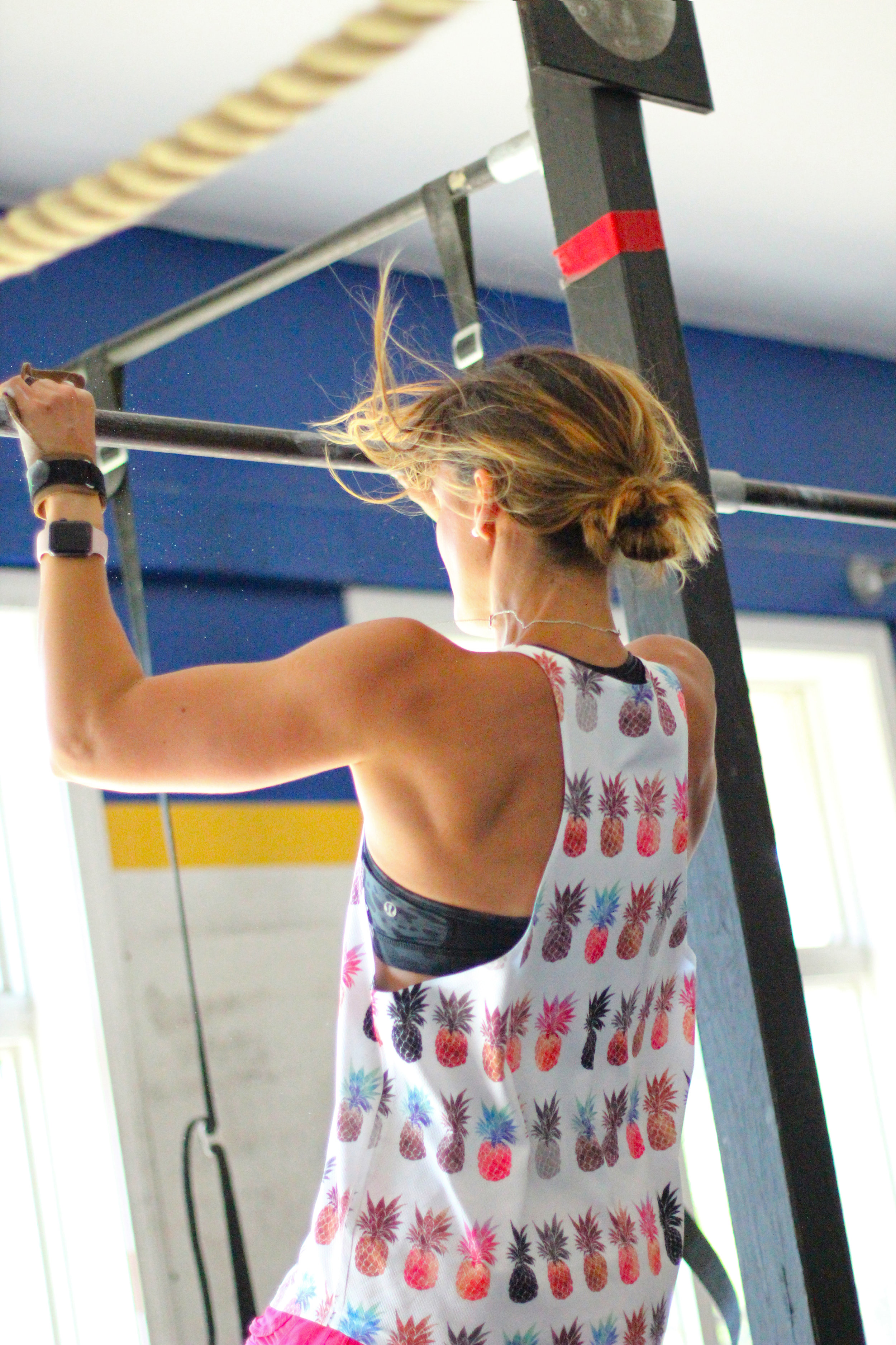 PVCF athlete, Lea Bullock, gets after some pull-ups in the sunshine!