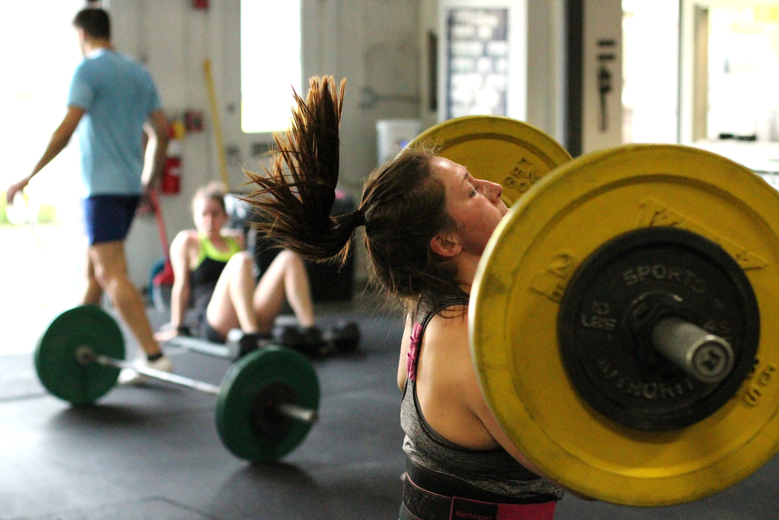 Max effort clean: when even your hair is working hard! Outstanding! PVCF athlete, Julia Boyle!
