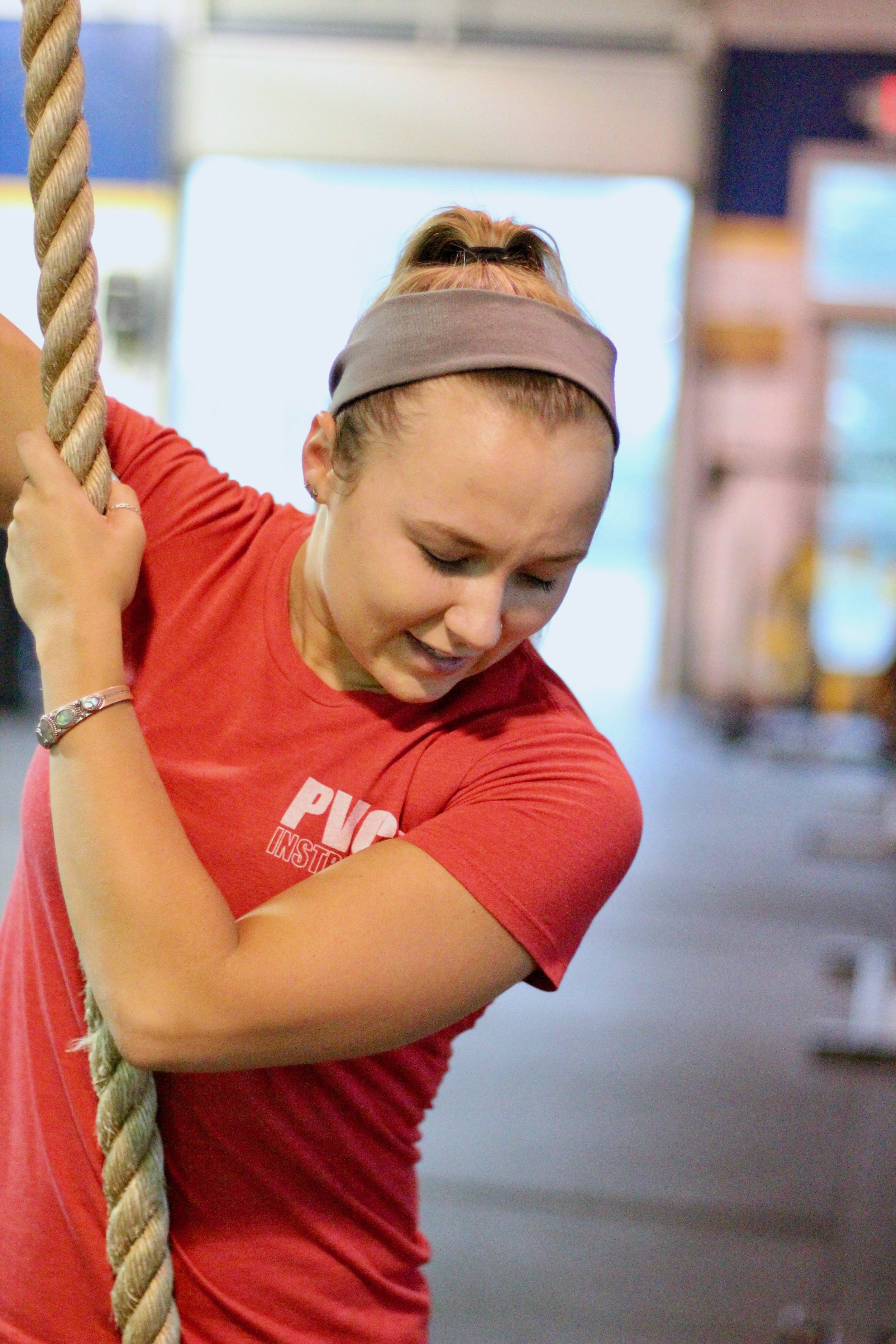 Classes with Coach Heather are a blast! Here she is teaching rope climbs:) So fun!