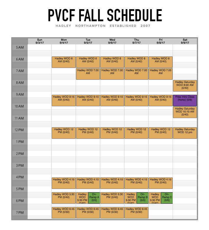 And here it is! The PVCF Schedule for September! New additions are all in Hadley:  ⭐7.00 a.m. class M-F ⭐12 p.m. class on Saturdays ⭐9.15 a.m. free intro class on Saturdays and ⭐Hadley On-Ramp switches from mornings on T, Th, and F to 5.30 p.m. on T, Th, and F.  This new schedule will begin after Labor Day (Tuesday the 5th)!