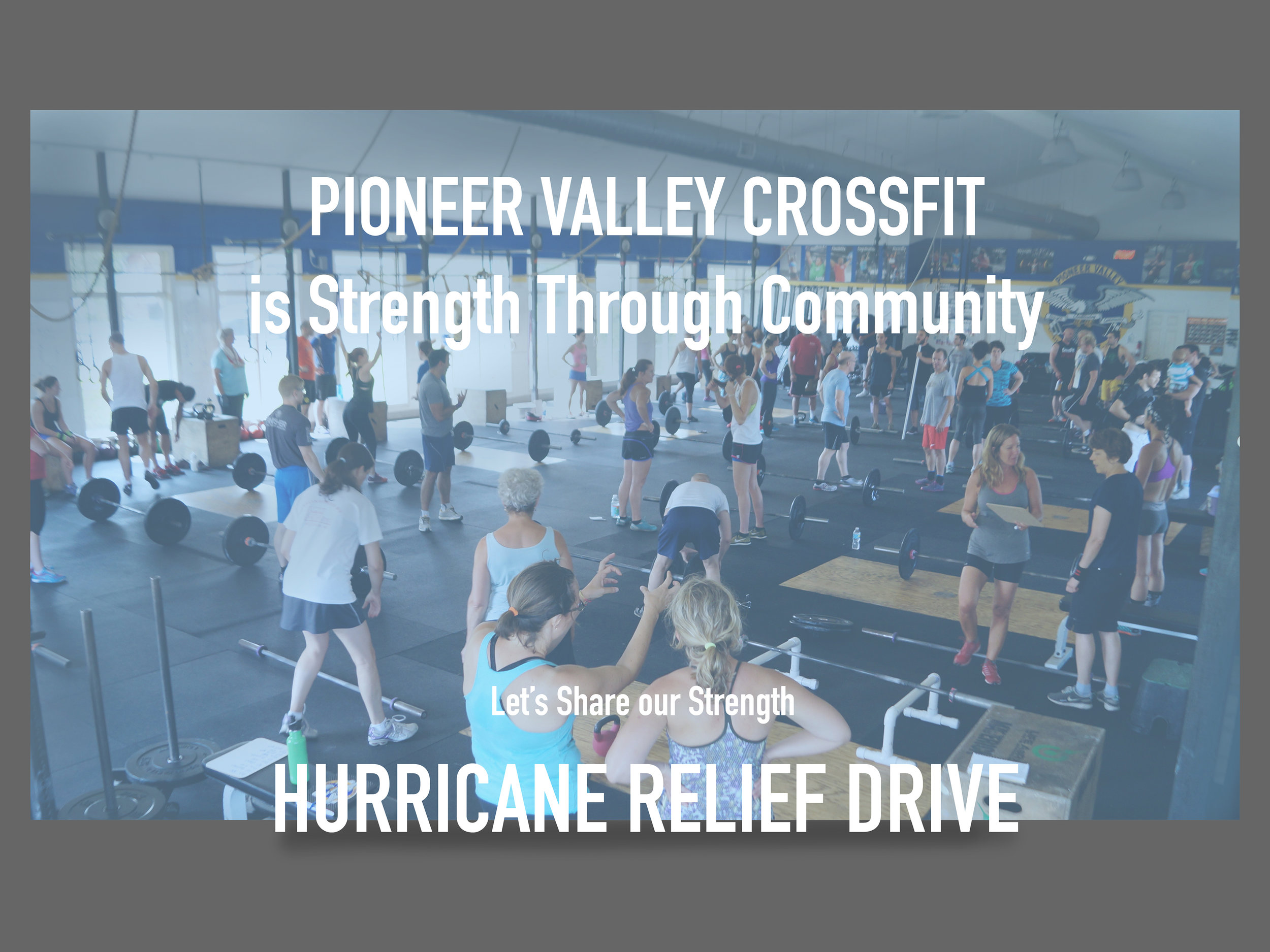Donation drop offs will be at both of our locations <3 Donate and get entered to win a FREE massage from Lauren Abend! If you've donated, email  liz@pioneervalleycrossfit.com   Check below for a full list of items: