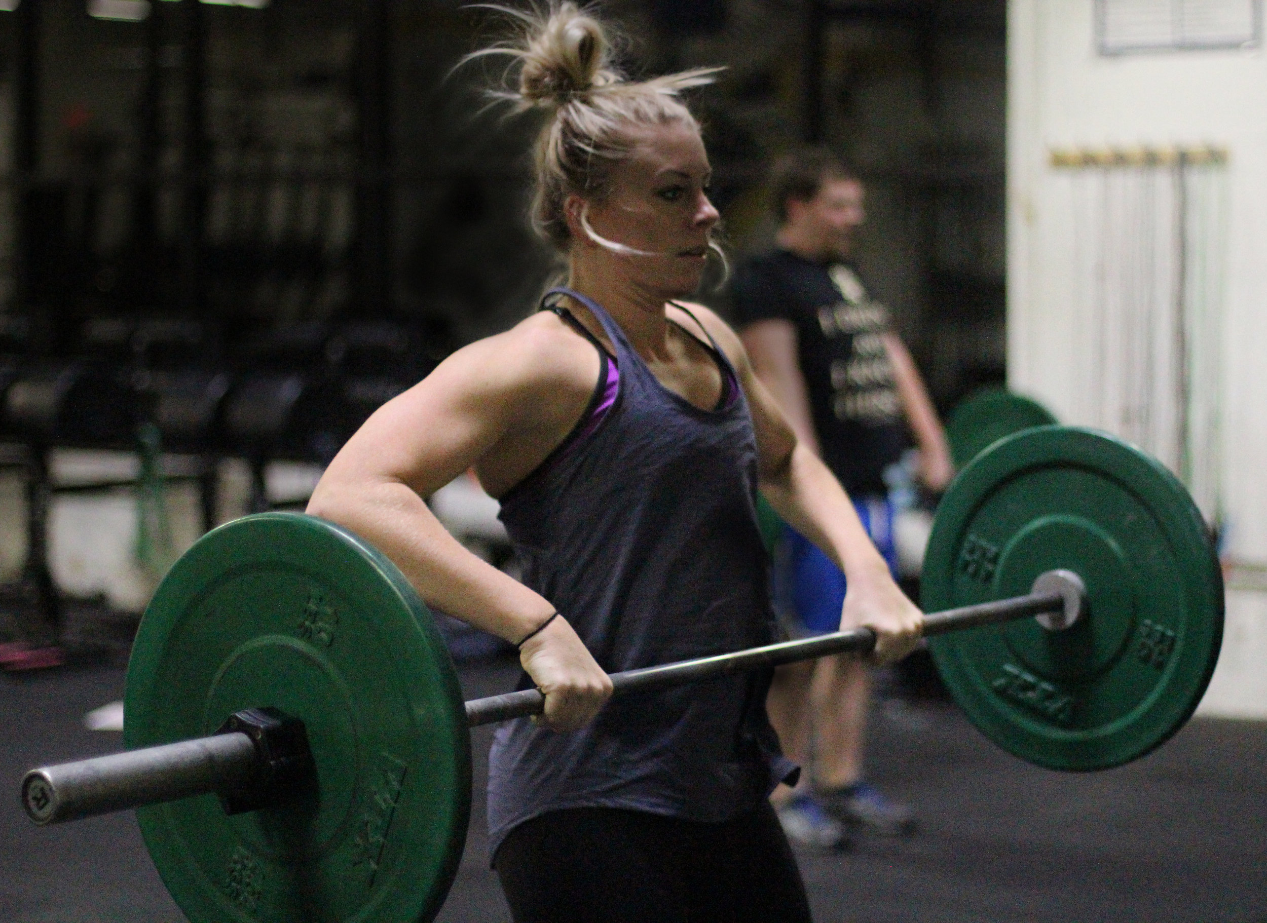 Here's PVCF athlete,Courtney Szawlowski pulling the barbell on her two month anniversary of CrossFit training!