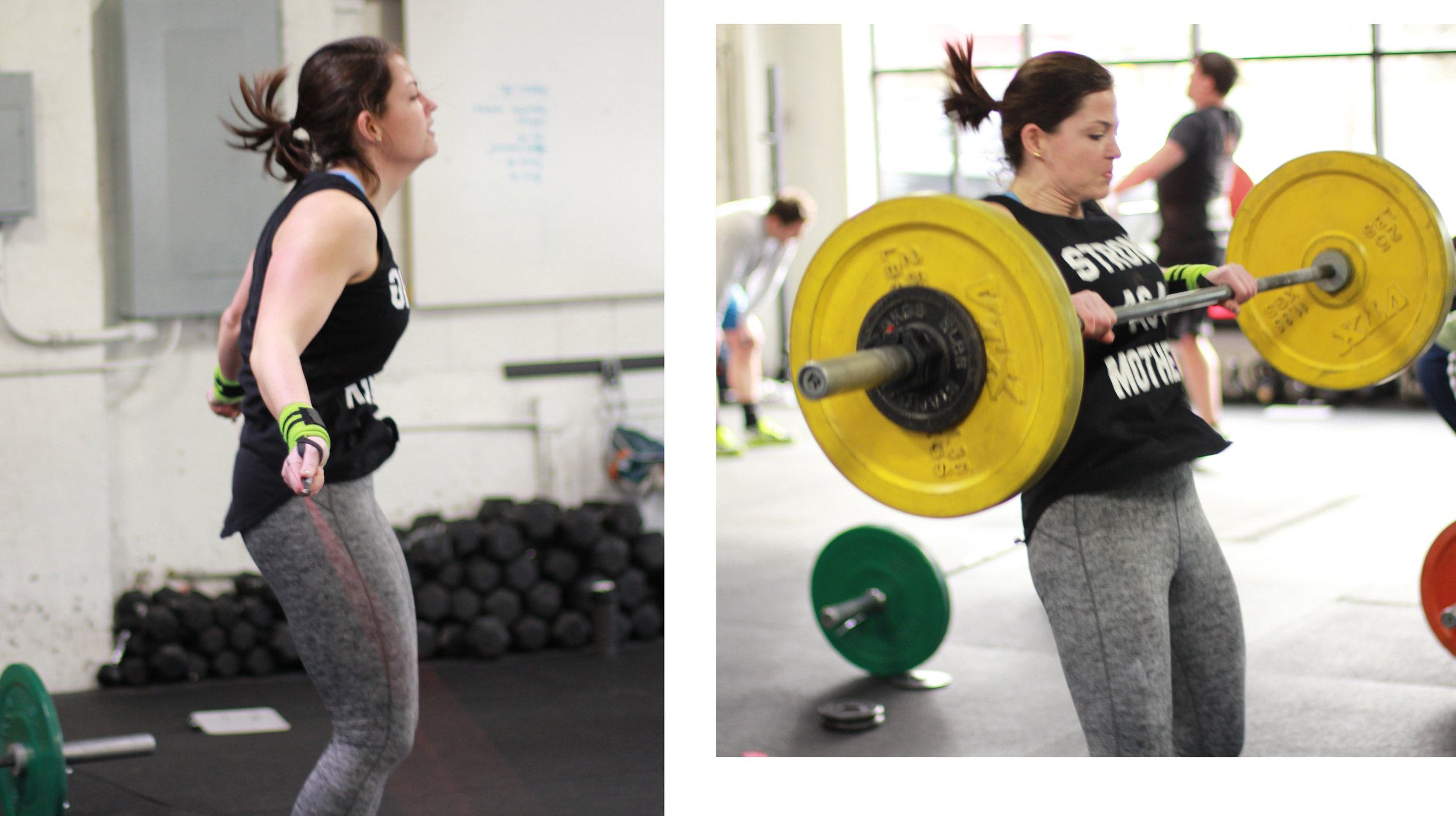 """Here's PVCF athlete, Loren Davine! Training in CrossFit for ten years and raising twins, she's earned every thread on this tank top: """"Strong as a Mother!"""""""