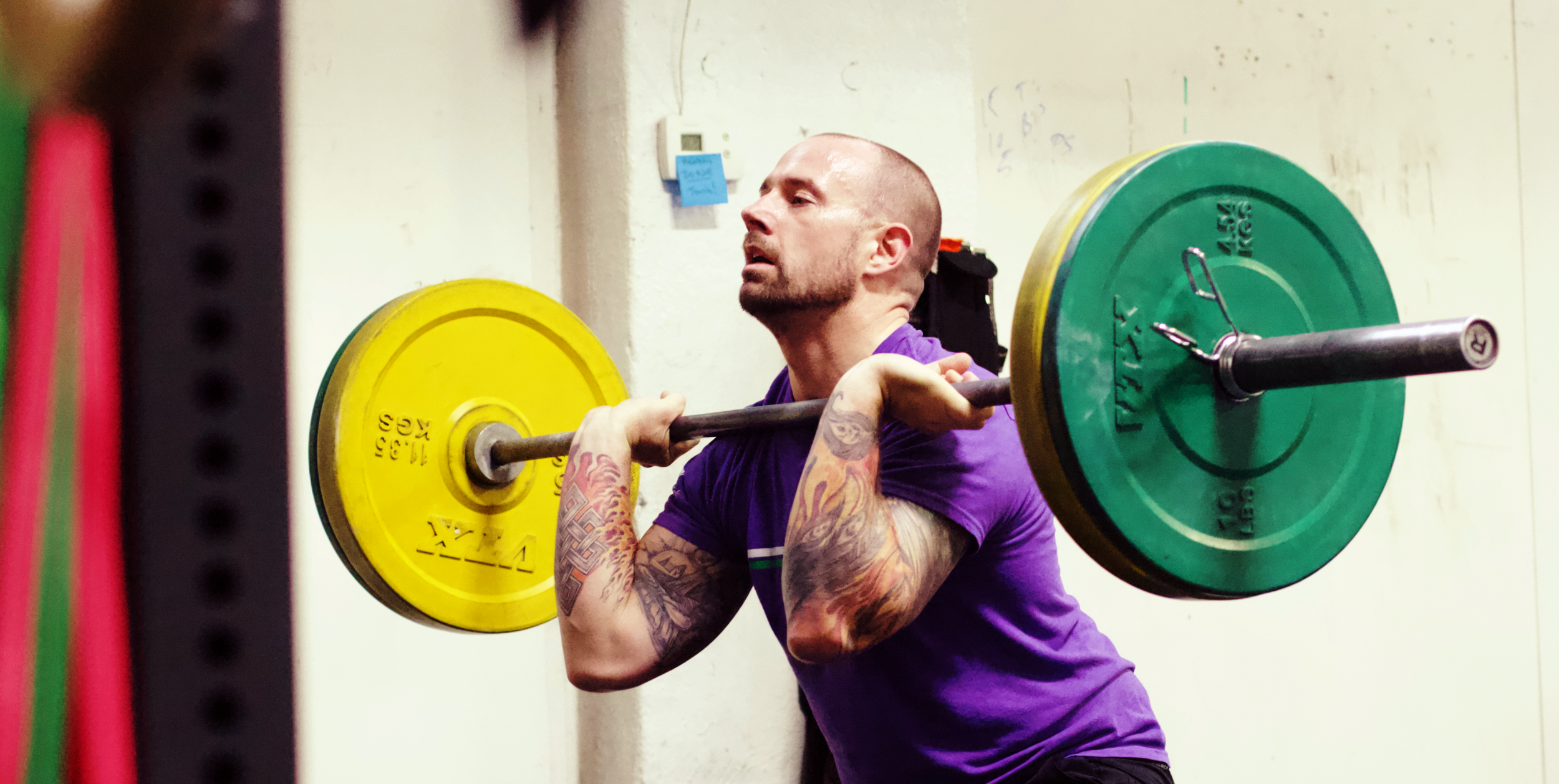 We love CrossFit because we can train to be strong AND fast! Here's PVCF athlete, Dave Placzek getting a set of thrusters in before heading out for the run!