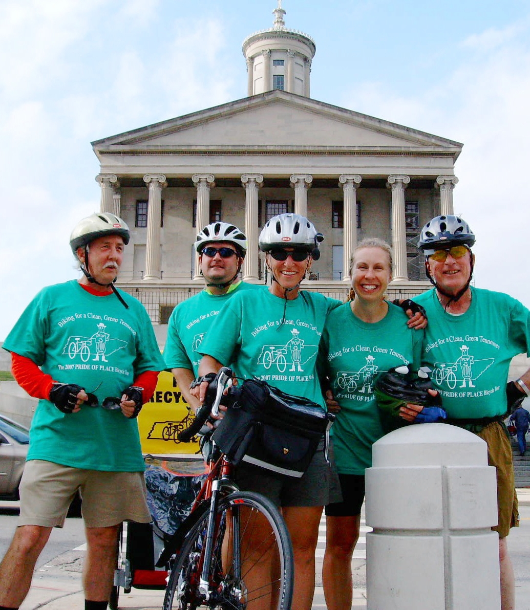 Supporters of a Tennessee beverage container deposit gathr in front of the State Capitol in Nashville during the 2007 statewide Cycling for Recycling bottle-bill bicycle tour.  From left: Richard Connors, Richard Cochran, Marge Davis, Kim Sparks and David Irvine.