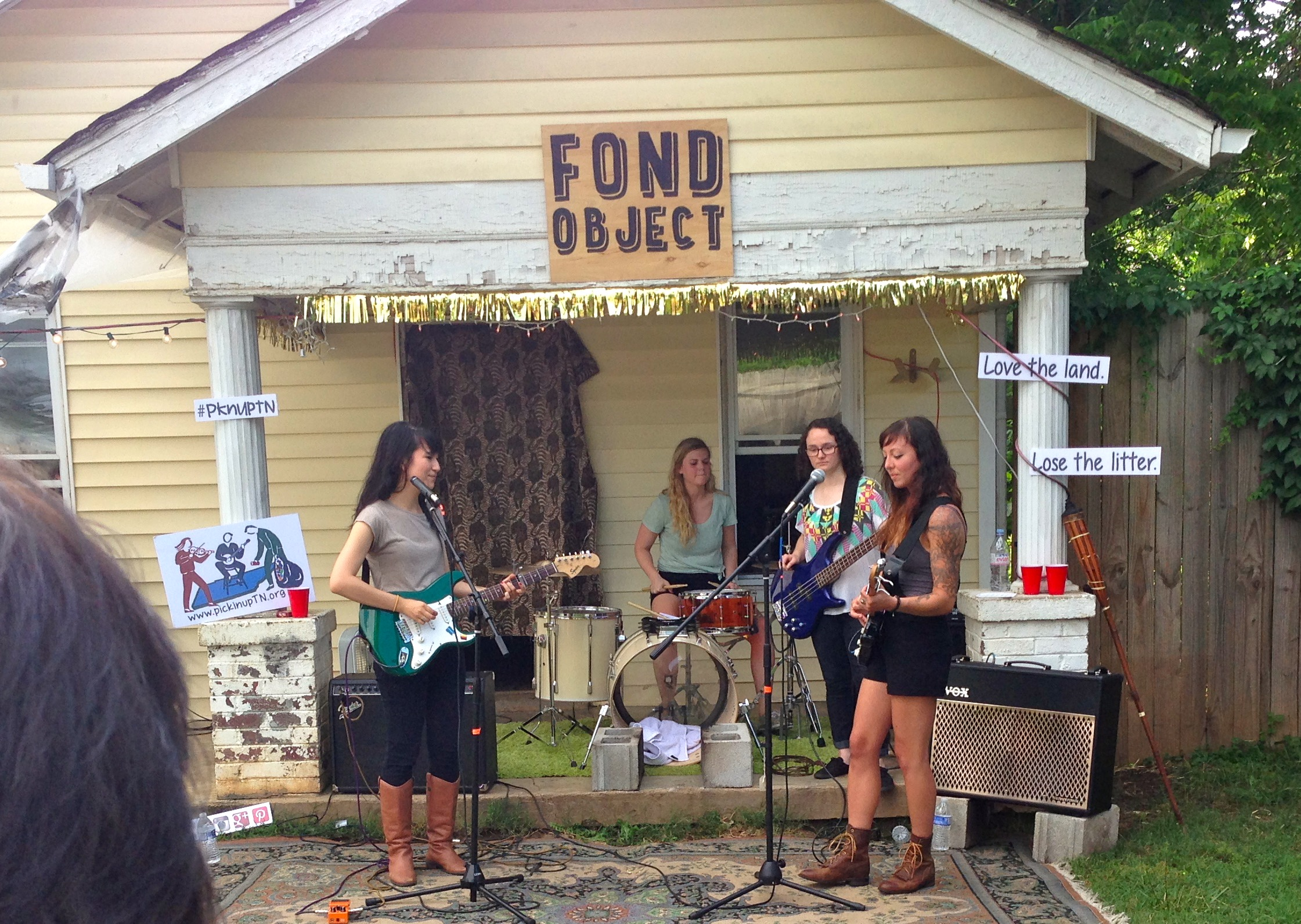 Meghan D'Amico, Rebecca Cholewa, Rachel Warrick and Alice Buchanan play before an outdoor crowd at the hip East Nashville record store Fond Object on Tour Day 2.