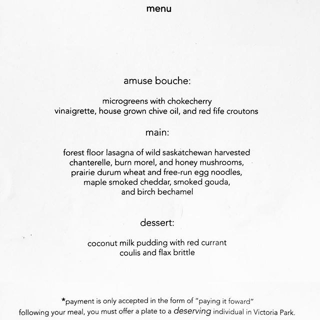 """@chefschmeer 's menu at """"minüte"""" @nuitblancheyxe . Thank you for donating ingredients to us @saskmade ! #saskmade #saskmademarketplace #chefschmeer #eatlocal #yxeeats #minutebybam #nbyxe16"""