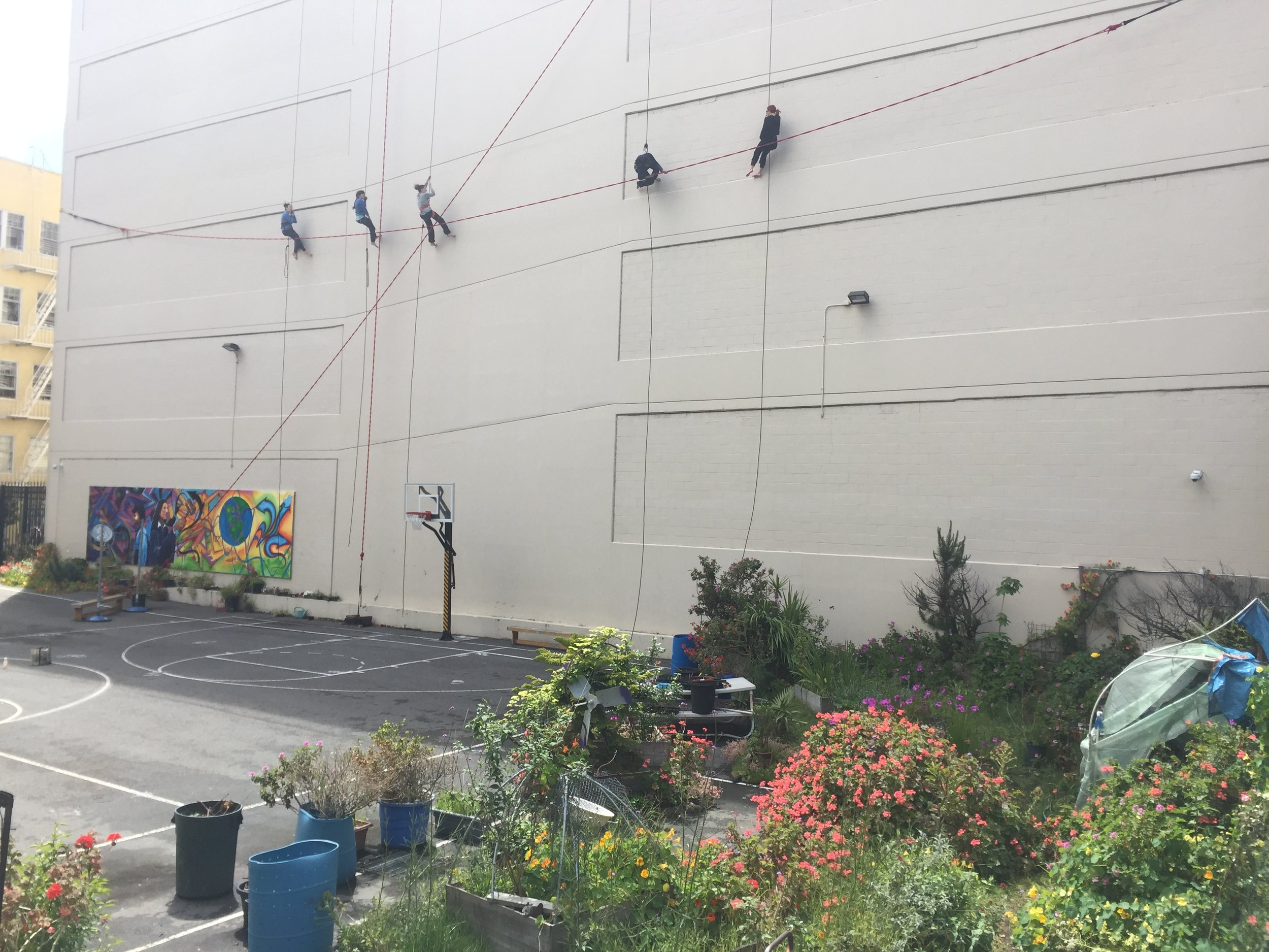 Aerial dancers rehearse above the Demonstration Gardens at UC Hastings in the Tenderloin, San Francisco. Photo by Tenderloin CBD.