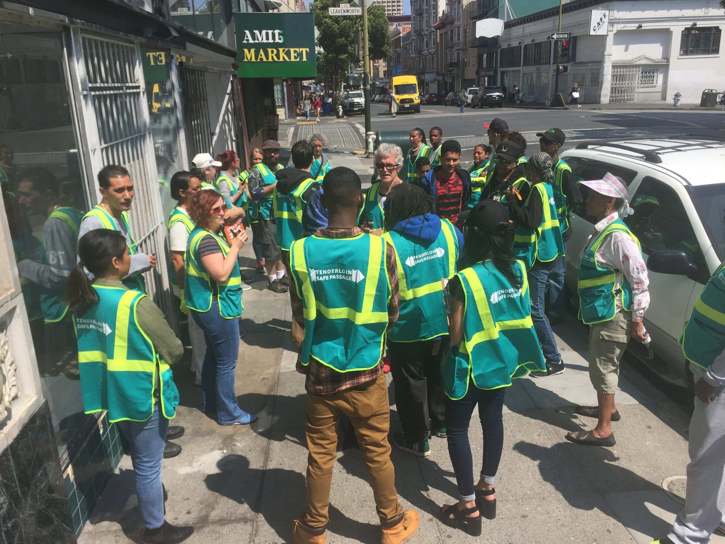 Safe Passage Corner Captains and other volunteers ready for the first shift of the new school year. Photo: Tenderloin Community Benefit District