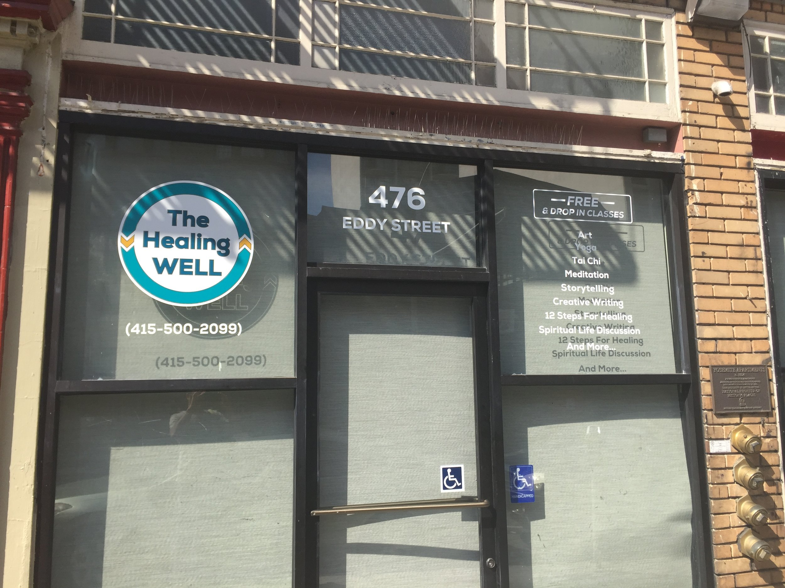 The Healing WELL new location at 476 Eddy (at Hyde).