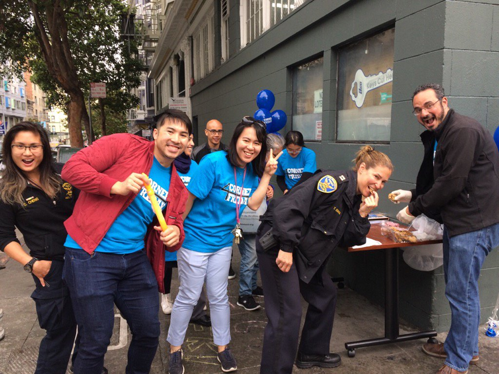 Commander Ewins with residents and staff from CCDC, Supervisor Kim's Office and TLCBD during #4Corner Friday