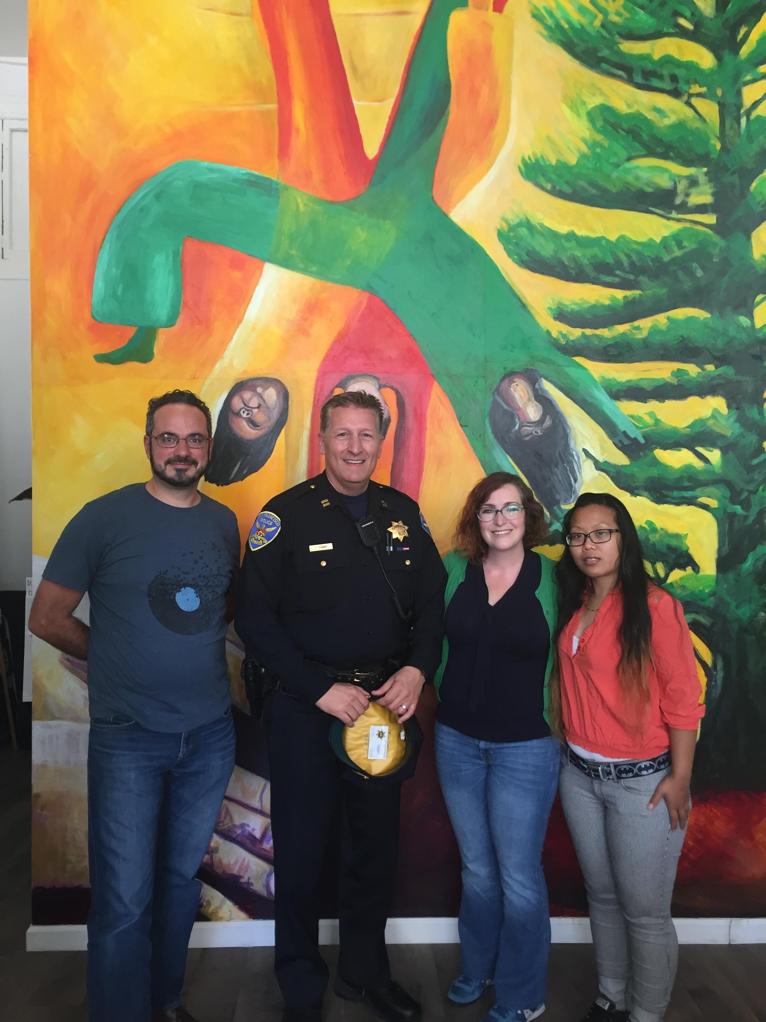 TLCBD Staff with Captain Fabbri, Photo Credit:  D6 Supervisor Jane Kim