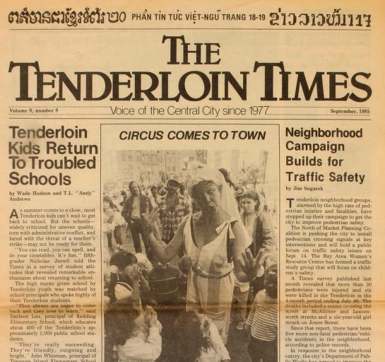 A screen grab of a 1985 issue of The Tenderloin Times, Archive.org