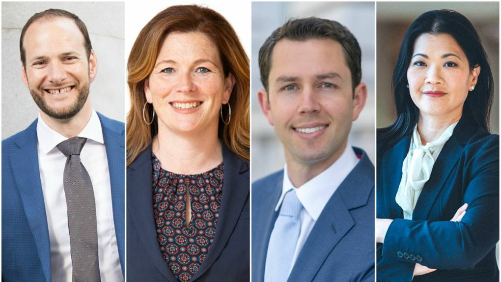 Candidates for San Francisco District Attorney (from L-R): Chesa Boudin, Suzy Loftus, Leif Dautch and Nancy Tung.  (Photos courtesy of the campaigns)