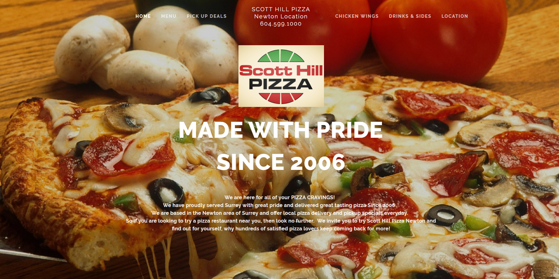 Scott Hill Pizza - A well established pizza business looking to improve their branding & mobile phone experience. Their visual appeal was enhanced with menu options redesigned to be YUMMY!