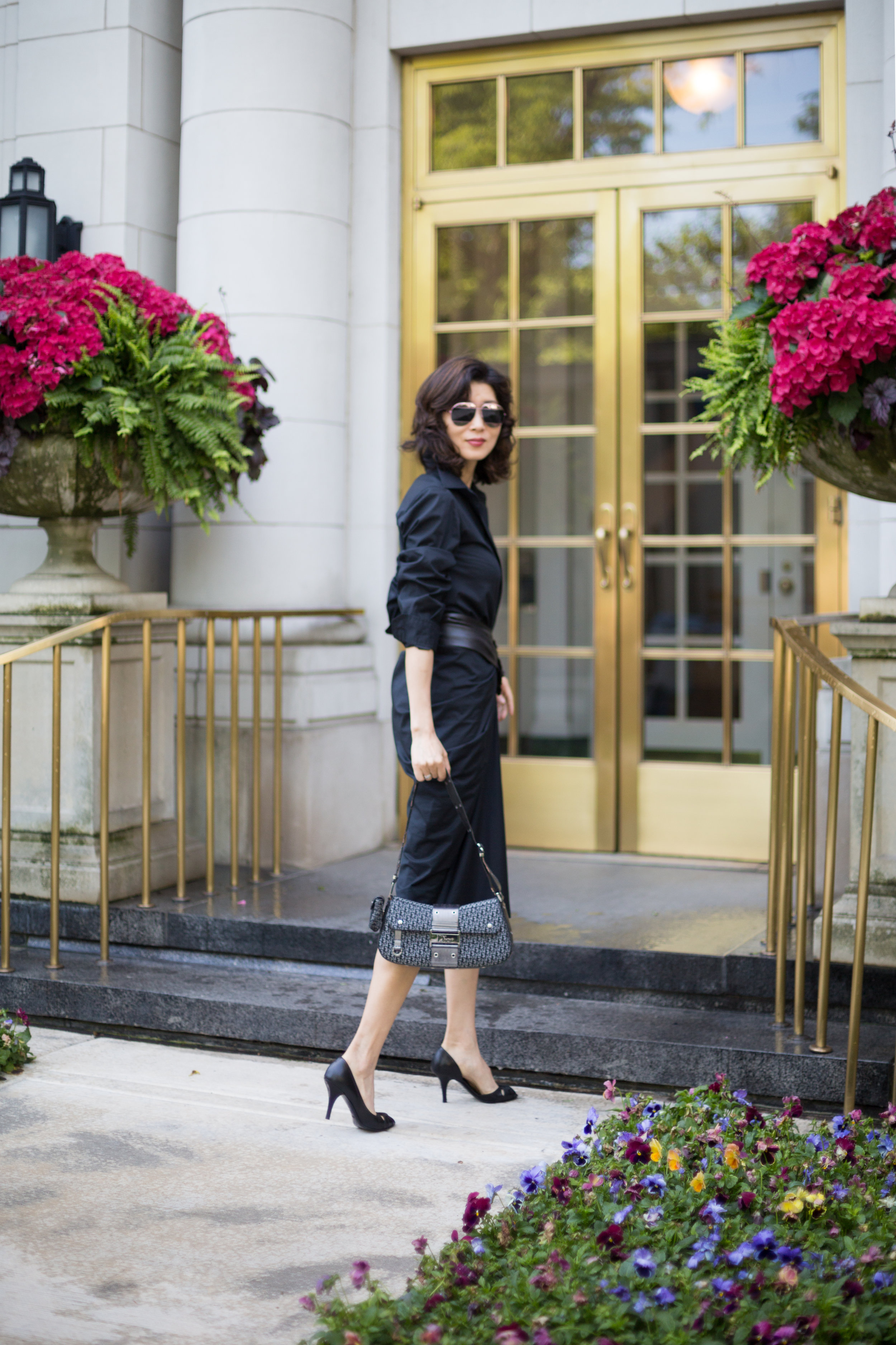 Photos By: Roxy Yang  www.roxyyang.com    Shop my look and similar items here://   Black shirt dress // Similar // Necklace // Watch // Purse(similar) // Belt(similar) // Peep Toe Heels// Sunglasses //