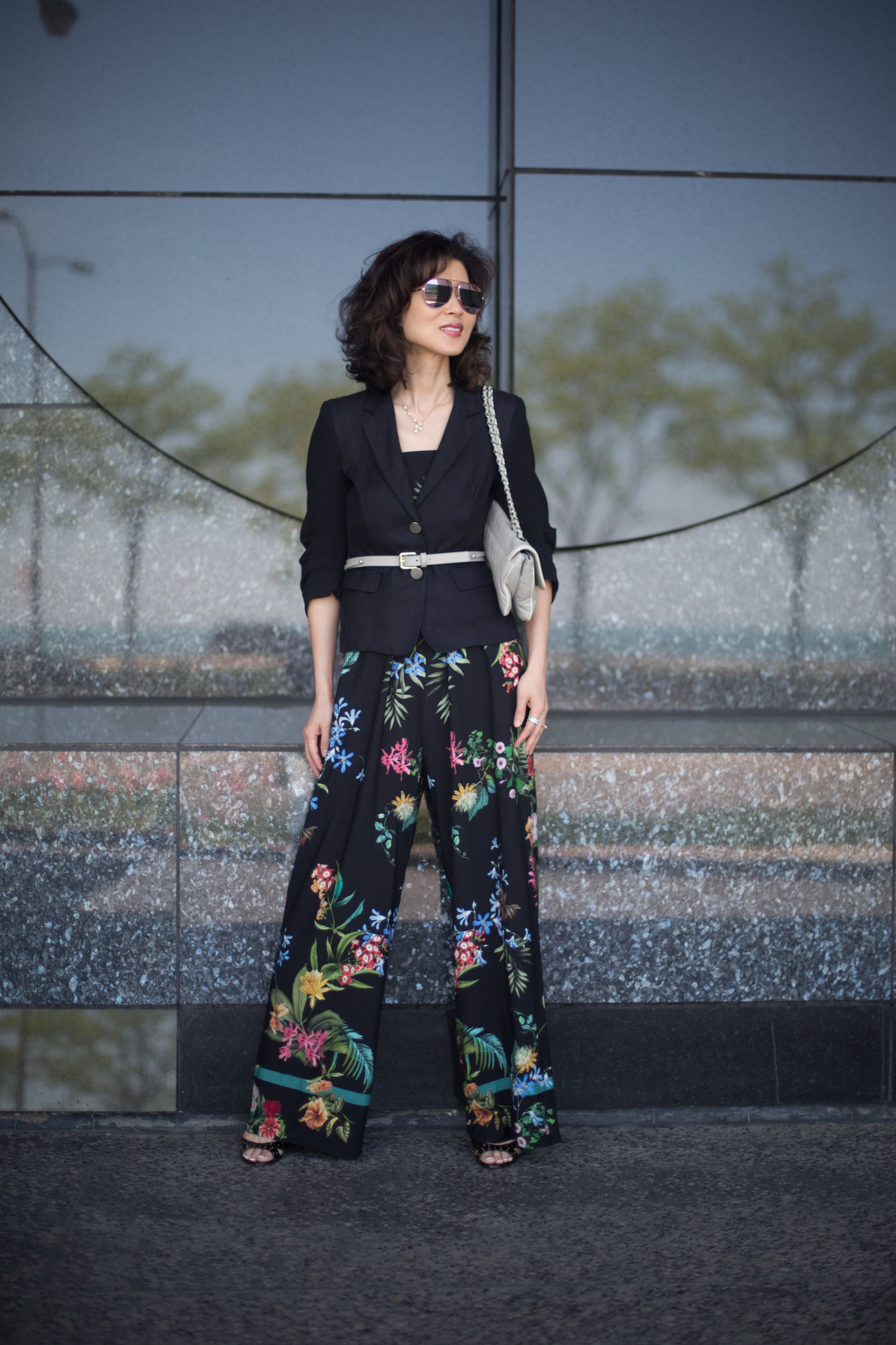 Shop my look and similar items here//:   Straw Hat // Wool Jacket // Belt // Floral print Jumpsuit // Sunglasses // Sandals (similar)//