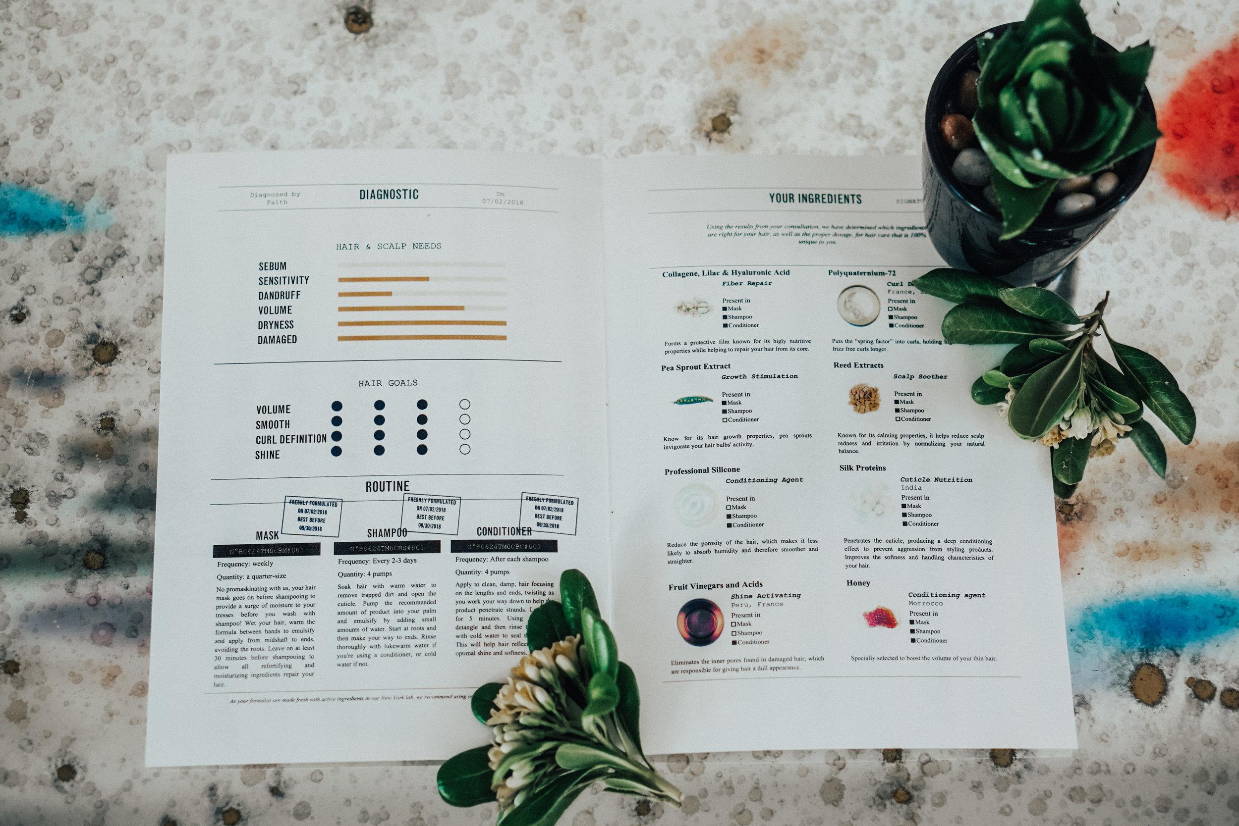 My formula's unique ingredient list and ste-by-step routine