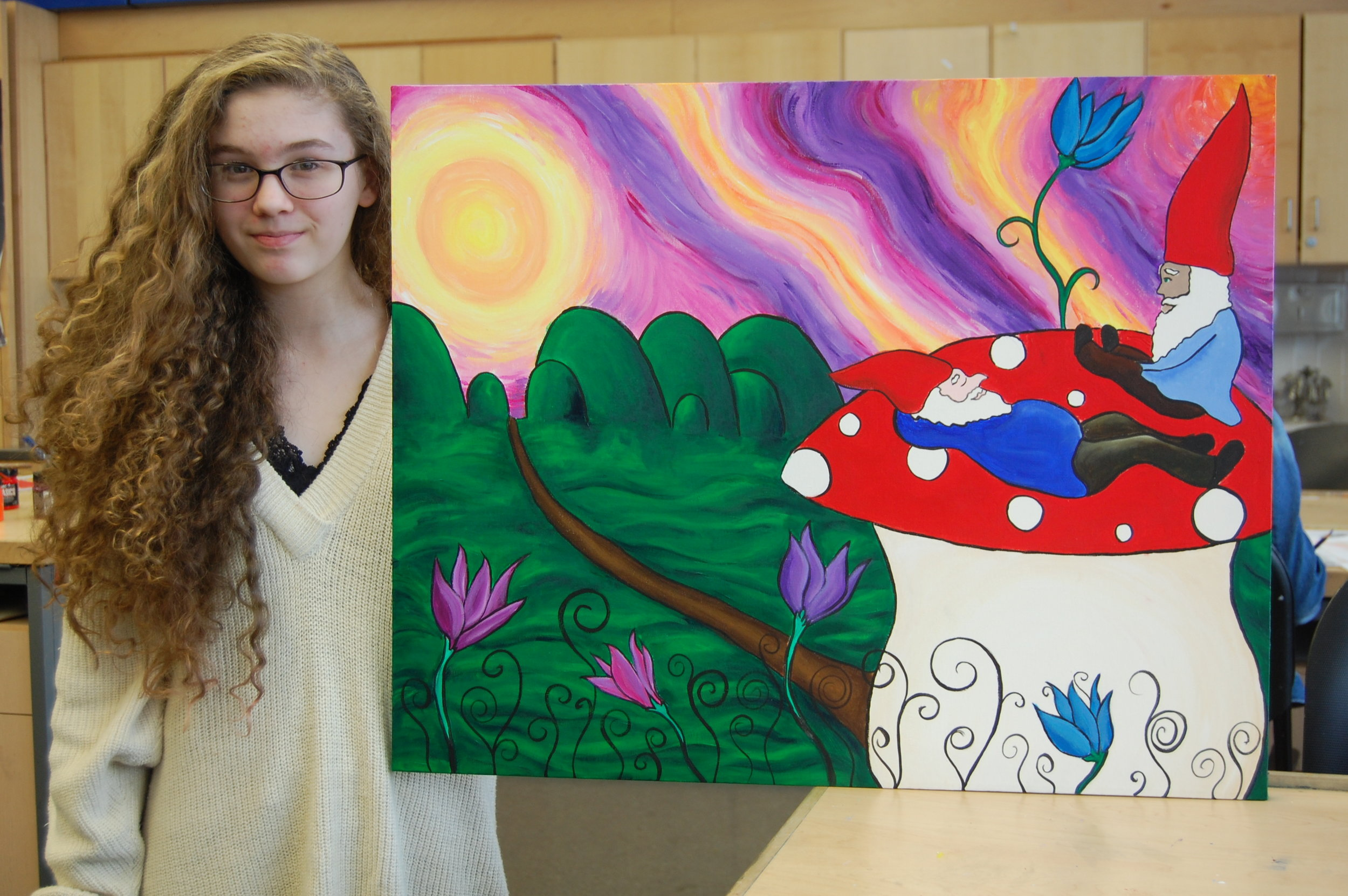 Sarah with painting.JPG
