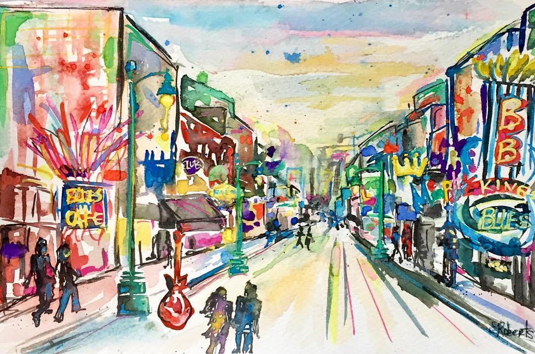 beale street memphis watercolor art