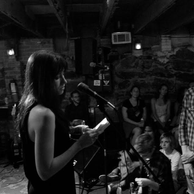 Rachel Renea reading at spiderweb salon's memorial show for j&js dirty ol' basement | photo by courtney marie | 2016