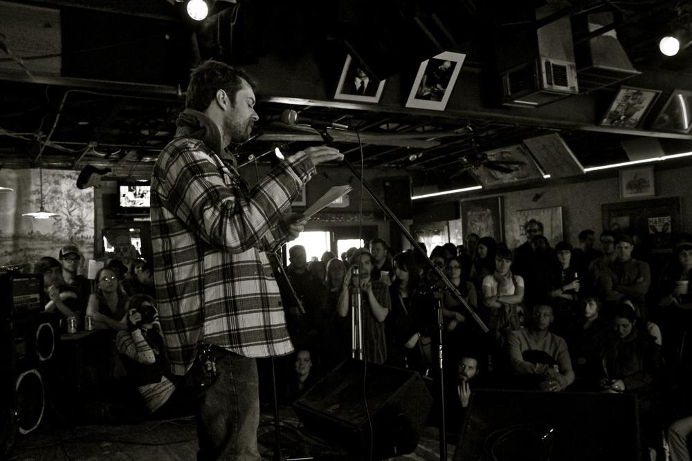 Joe Carr reading at Spiderweb Salon's first 35 Denton showcase | photo by courtney marie | 2013
