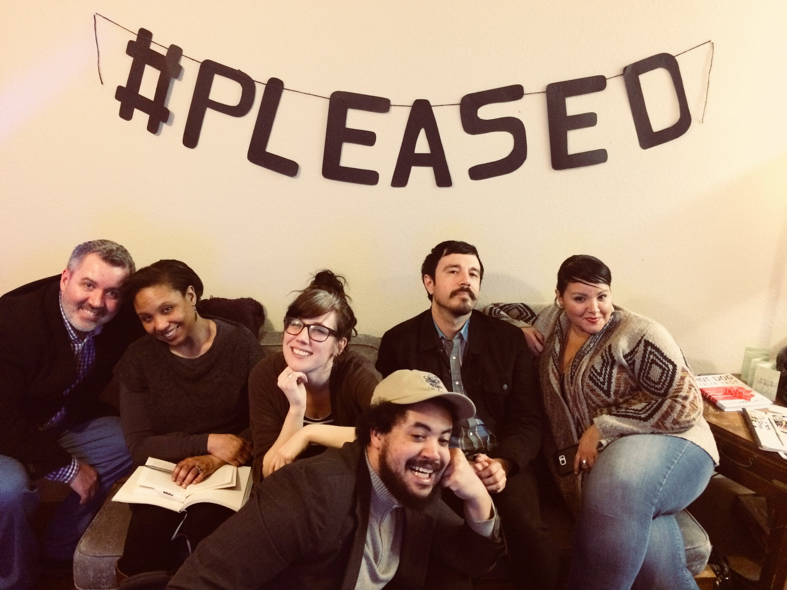 Some of DFW's finest radio-famous poets. (left to right: Paul Koniecki, Reverie Evolving, courtney marie, Sean Enfield, Mike Soto, and Ellie Gonzalez)