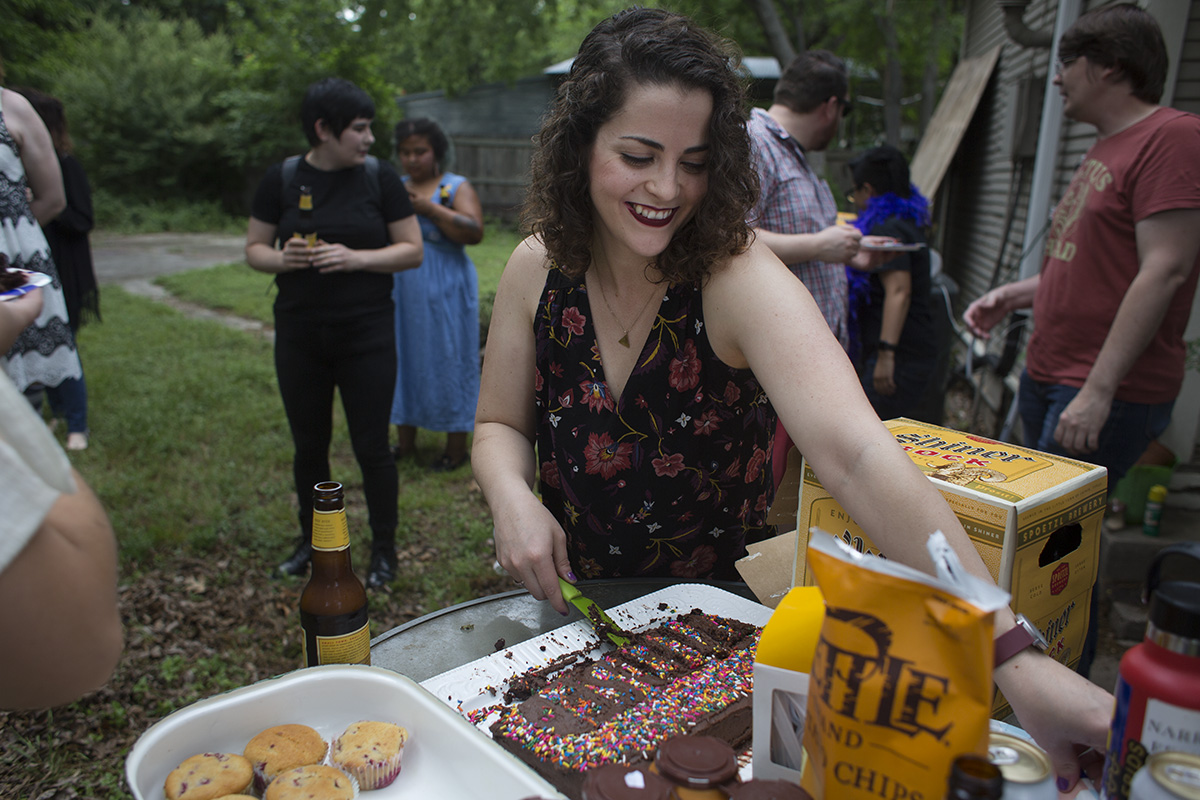 Pictured: cake and muffins and Caitlin feeding all our beautiful friends post-Wake-&-Bake.