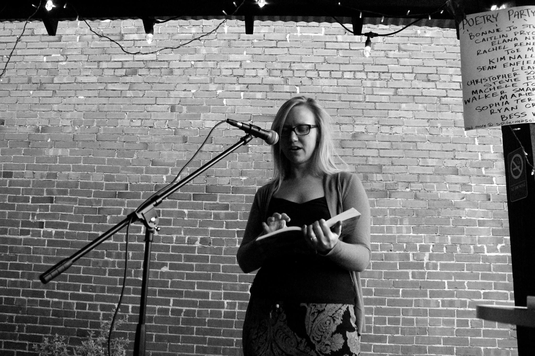 Bonnie Jo Stufflebeam at Spiderweb Salon's Poetry Party | photo by courtney marie