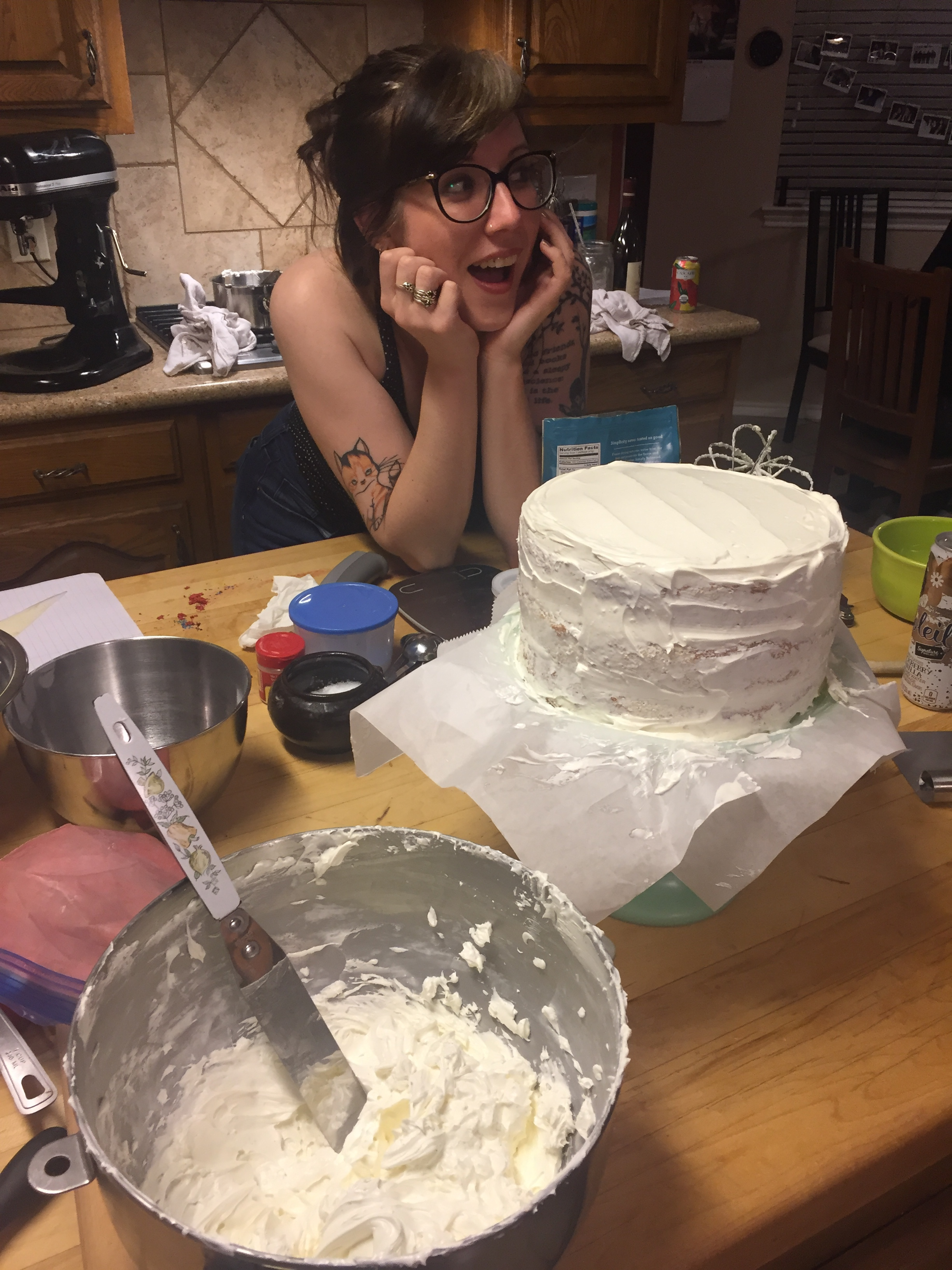 Step 2: Be amazed at the amount of butter you are about to slather on the cake.